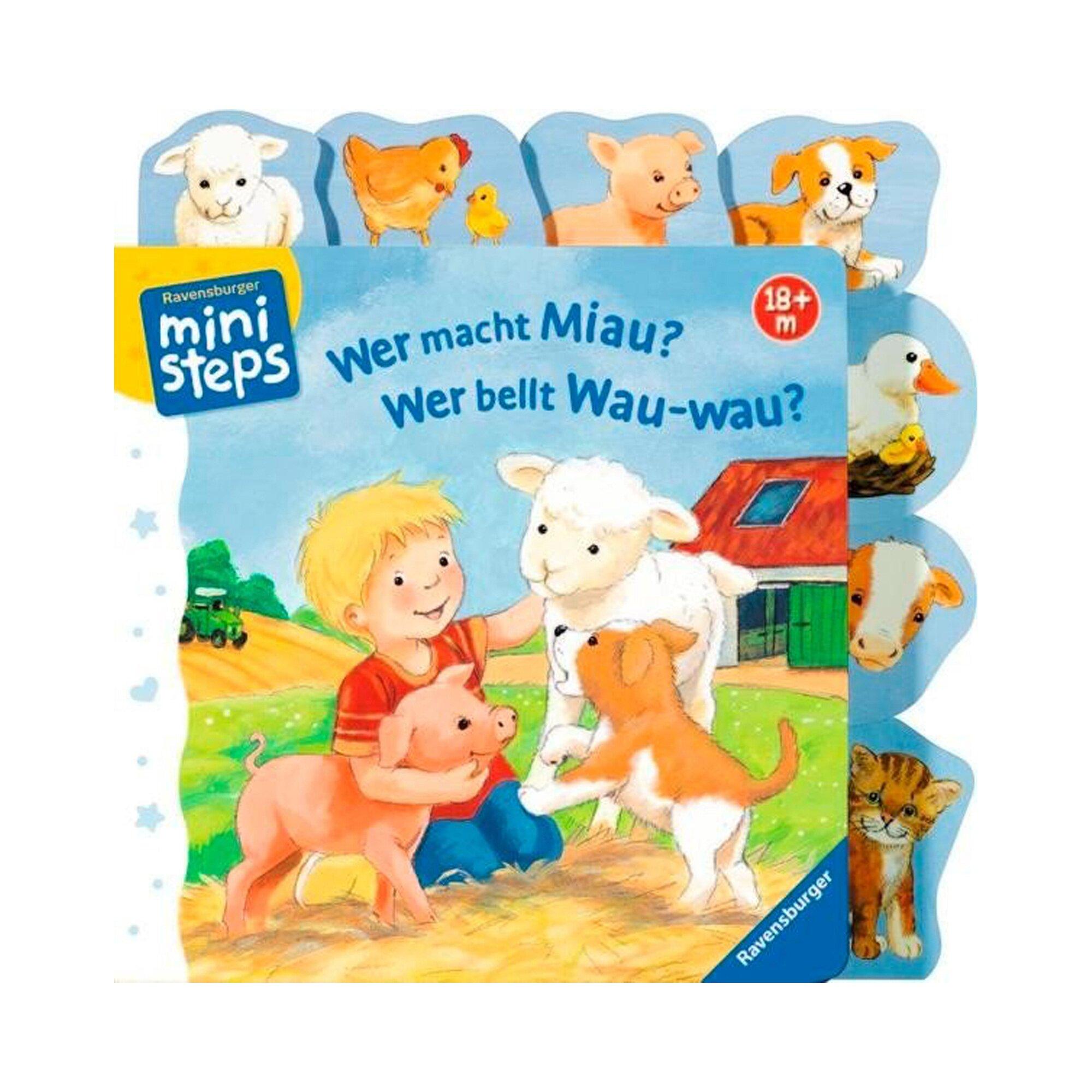 Ministeps Pappbilderbuch Wer macht Miau? Wer bellt Wau-wau?
