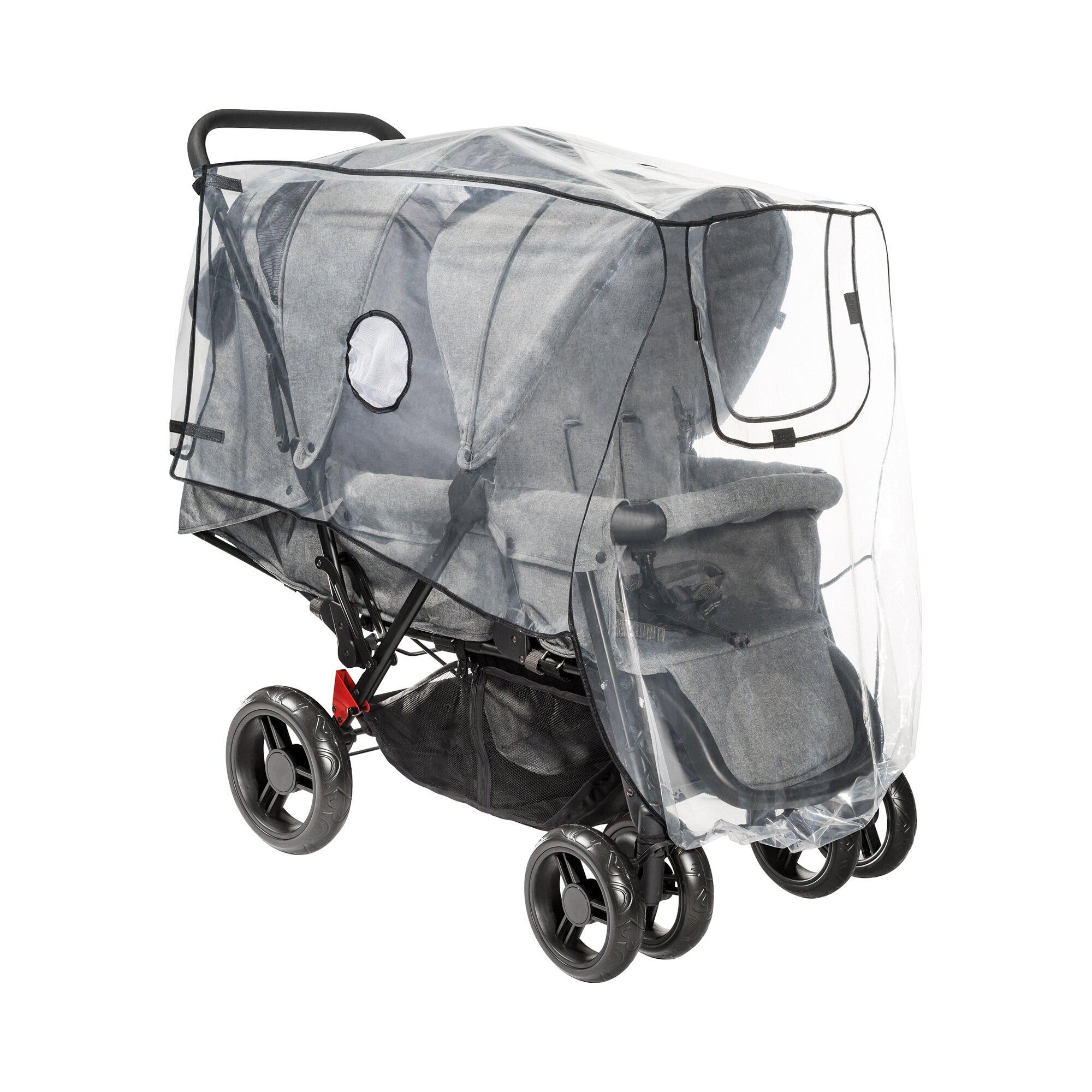 Reer Universal Regenschutz für Kinderwagen Geschwisterwagen transparent