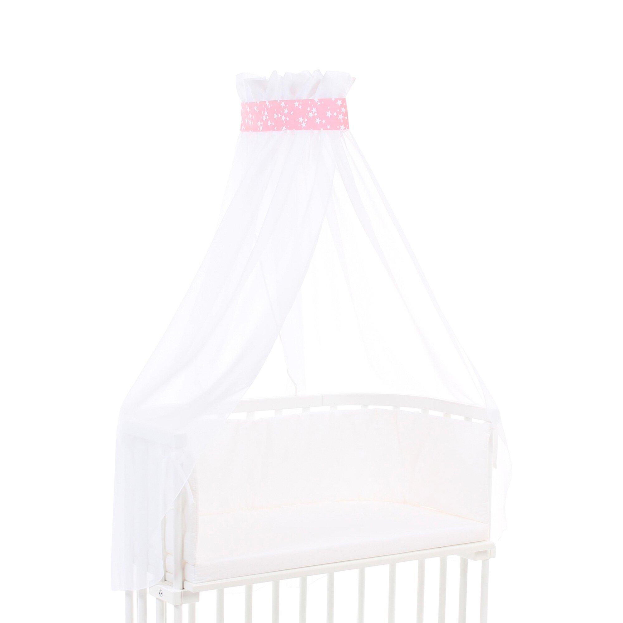 babybay-betthimmel-pique-mit-banderole-rosa