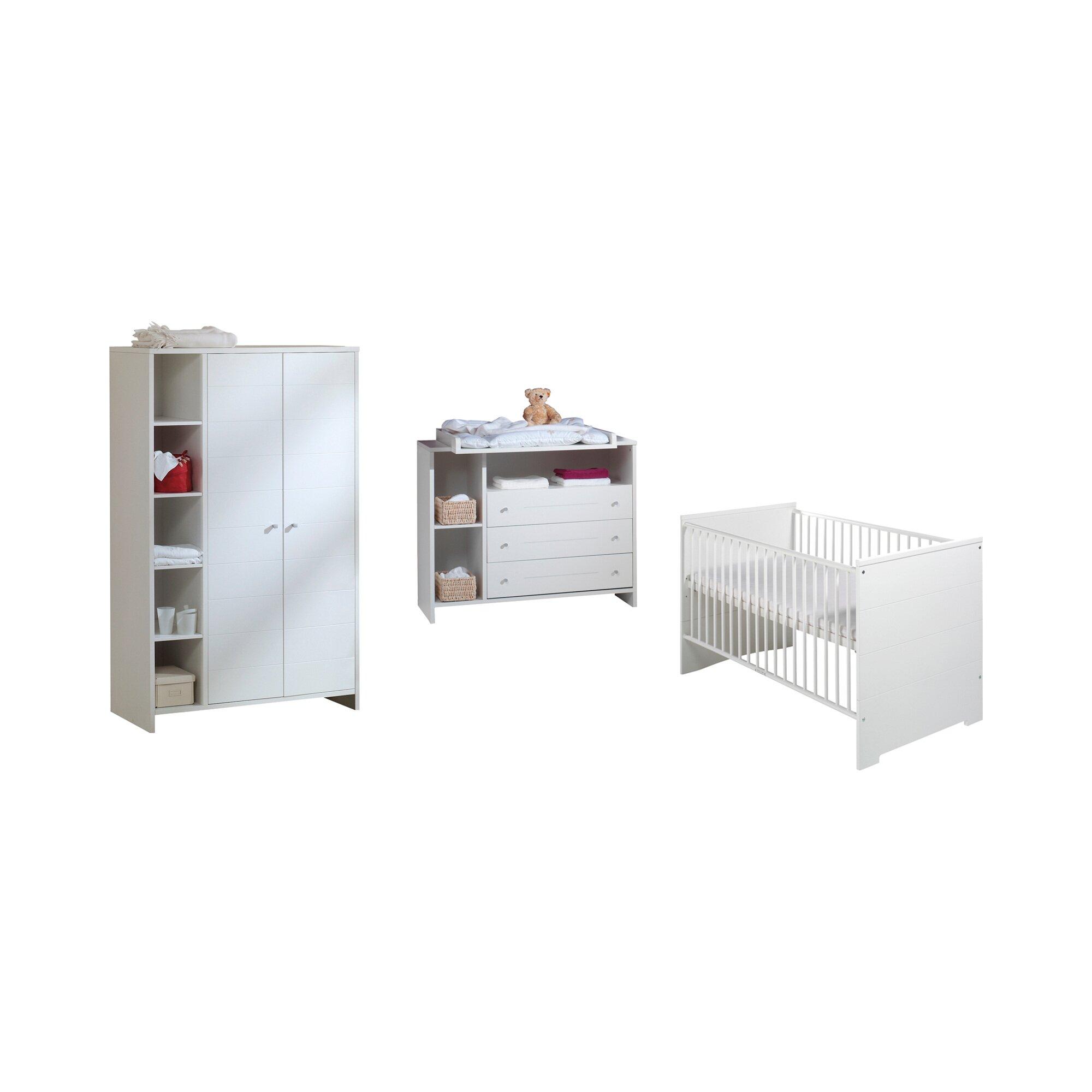 Schardt Kinderzimmer-Set ECO STRIPE (Bett+Wickelkommode+Schrank 2-trg.)