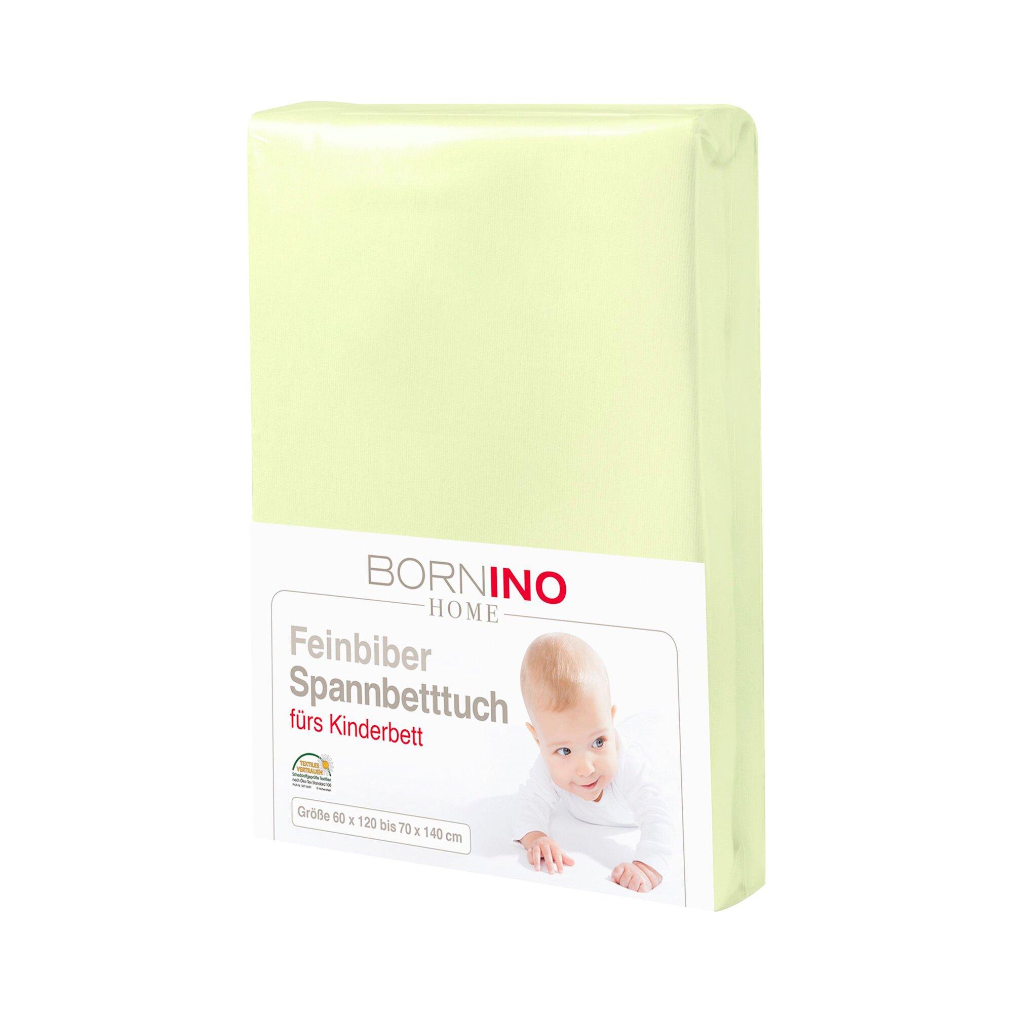 Bornino Home Feinbiber-Spannbetttuch 60x120 cm - 70x140 cm gruen 70