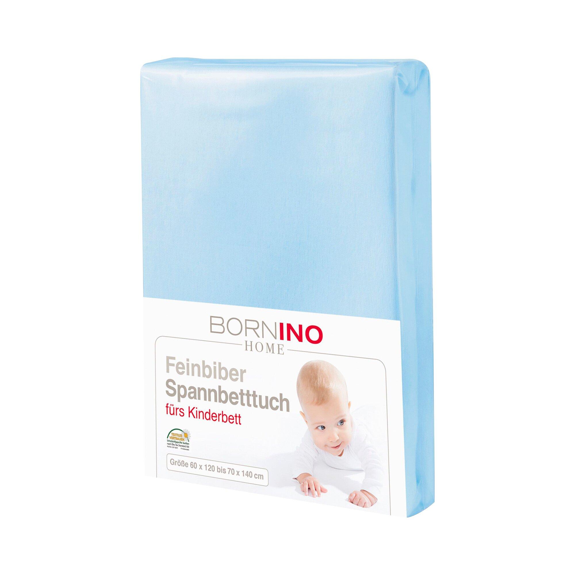 Bornino Home Feinbiber-Spannbetttuch 60x120 cm - 70x140 cm hellblau 70