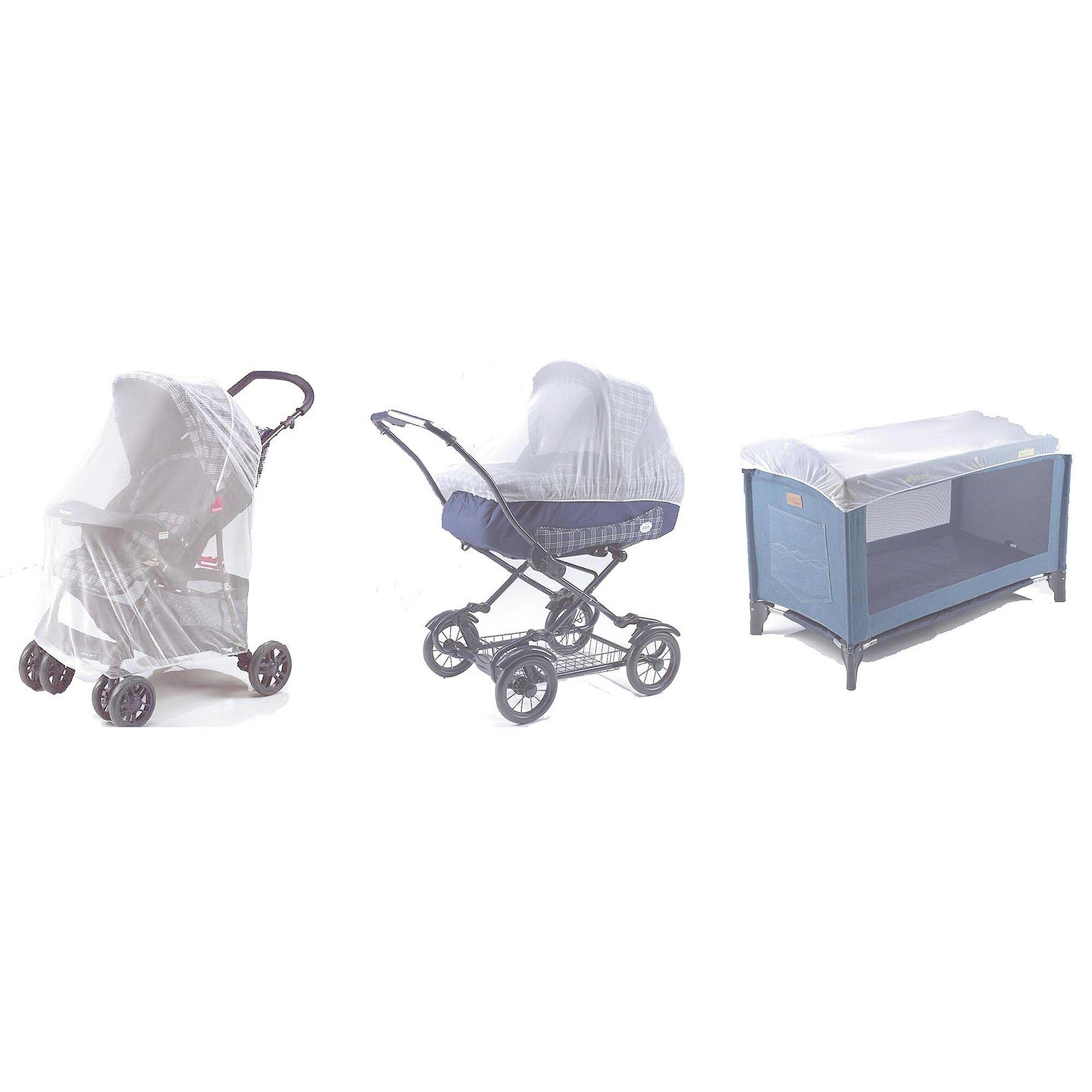 Reer Universal-Insektenschutz 3-in-1 für Babyschale, Reisebett und Kinderwagen weiss