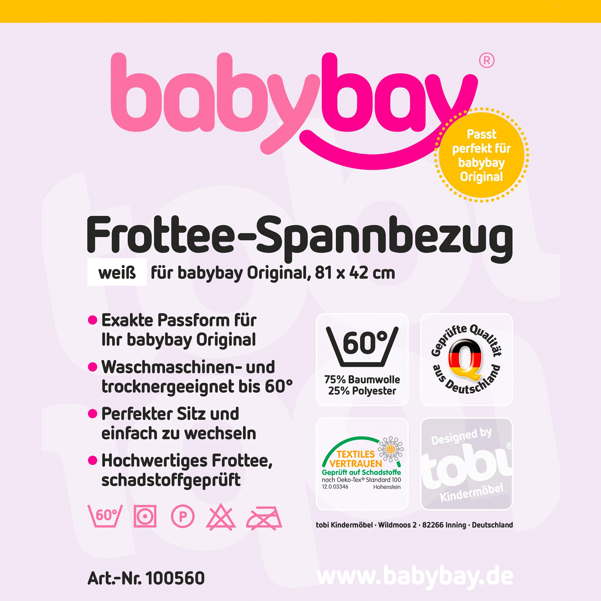Babybay® Frottee-Spannbetttuch Original 81x43 cm weiss