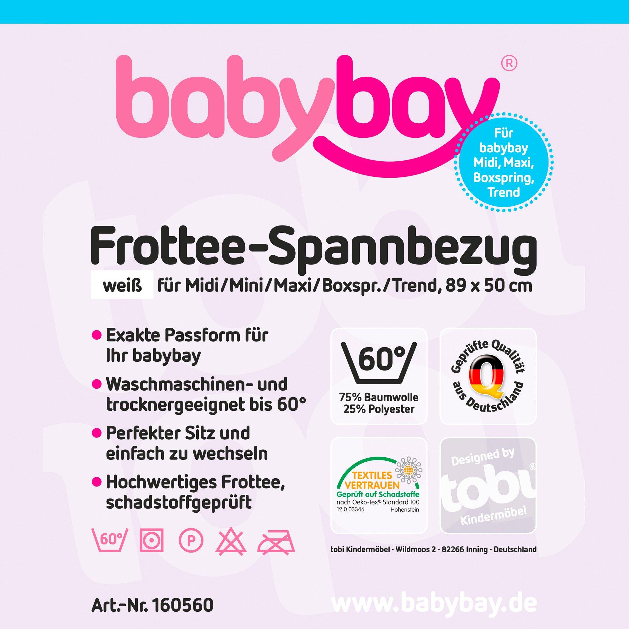 Babybay® Frottee-Spannbetttuch Maxi 89x50 cm weiss