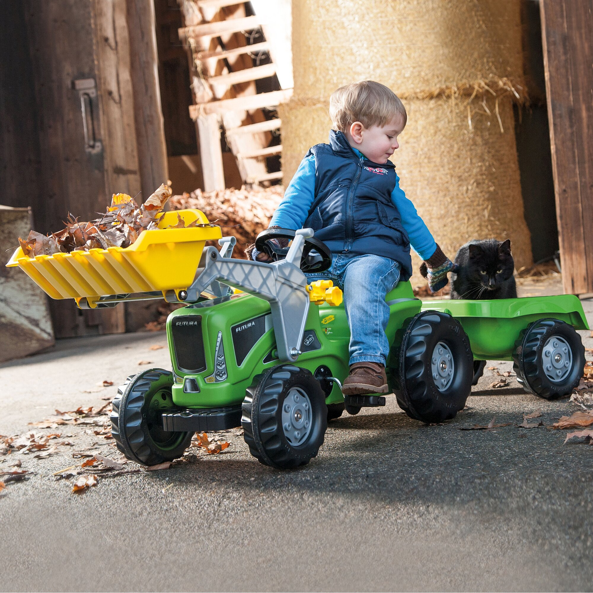 rolly-toys-trettraktor-rolly-kiddy-futura-mit-frontlader-und-anhanger