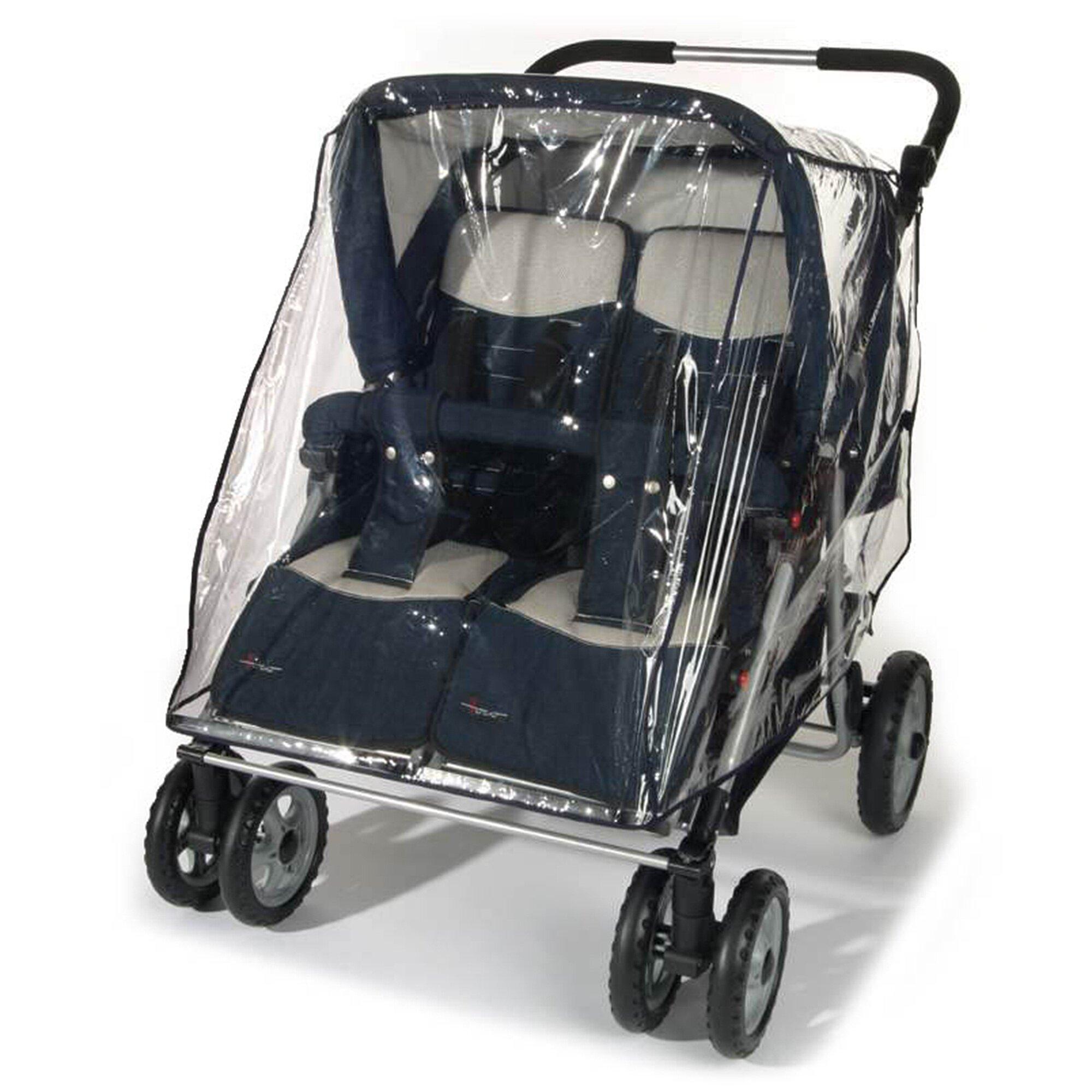 Reer Universal Regenschutz für Zwillingskinderwagen transparent