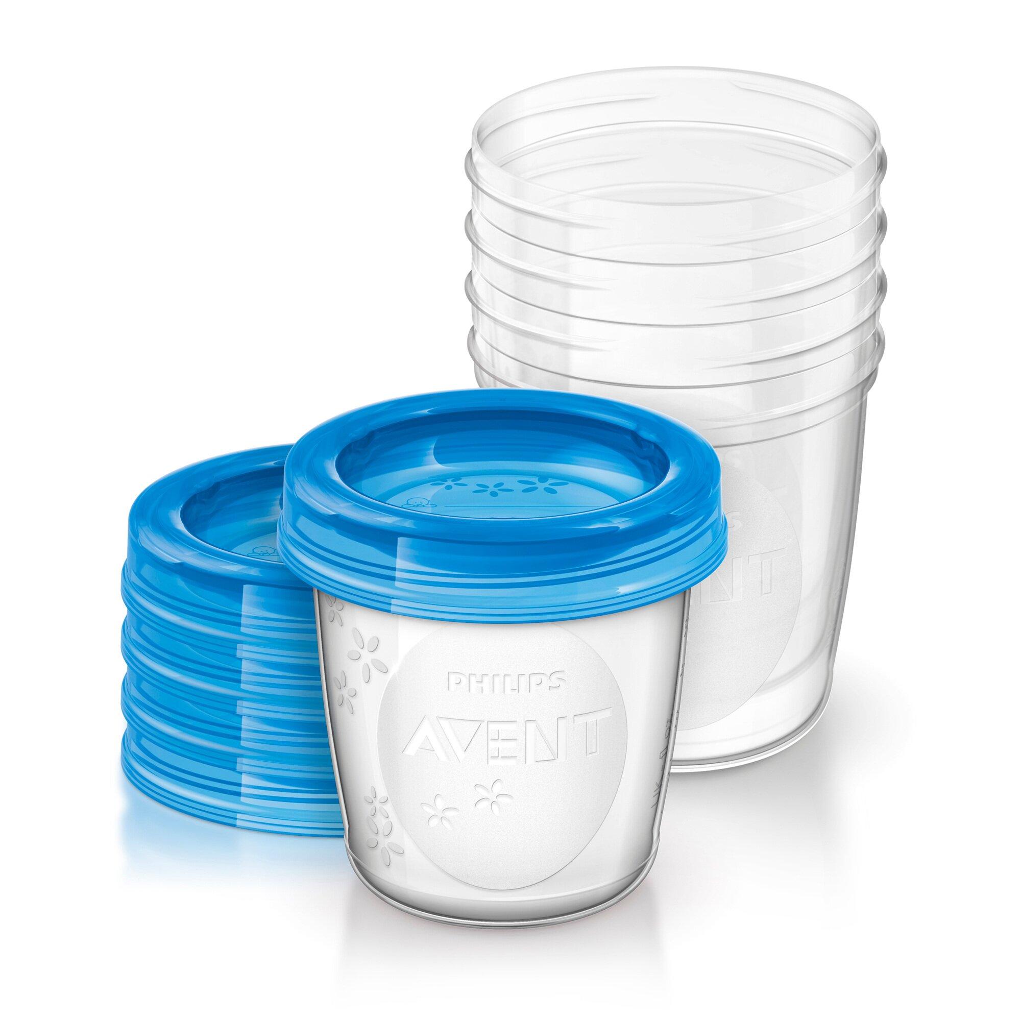Philips Avent Aufbewahrungsbecher für Muttermilch, SCF619/05, 5x180ml Becher