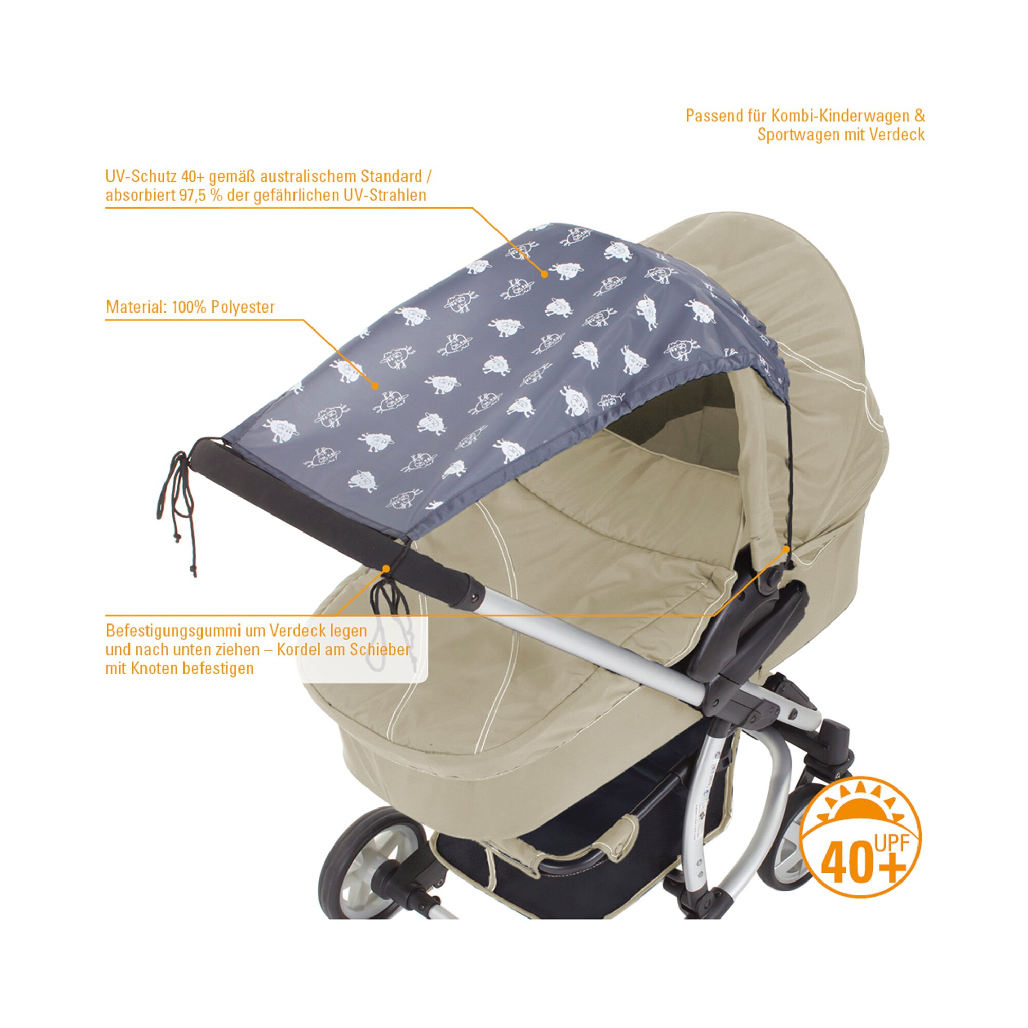Diago Sonnensegel Kinderwagen grau