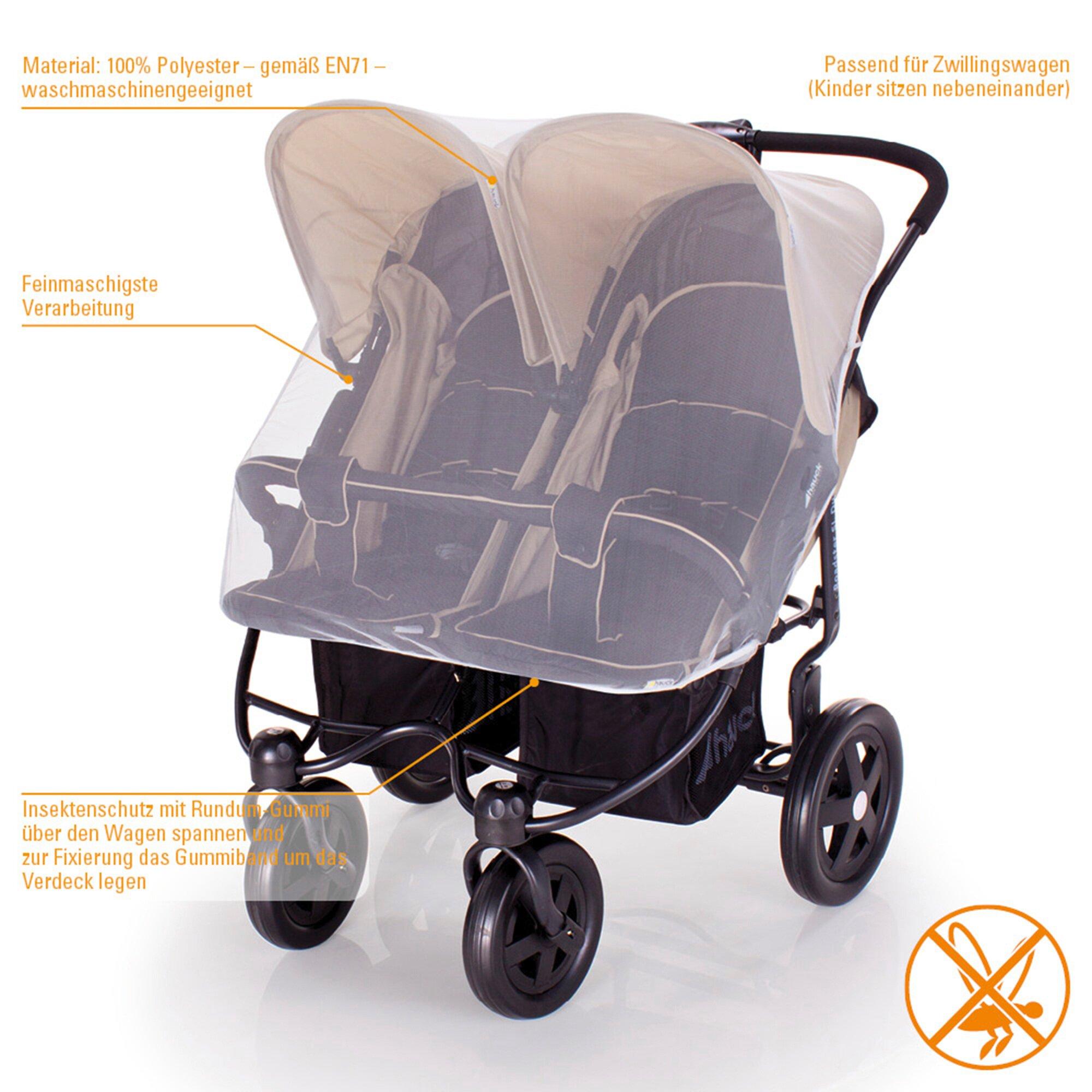 Diago Insektenschutz für Kinderwagen Zwillingswagen weiss
