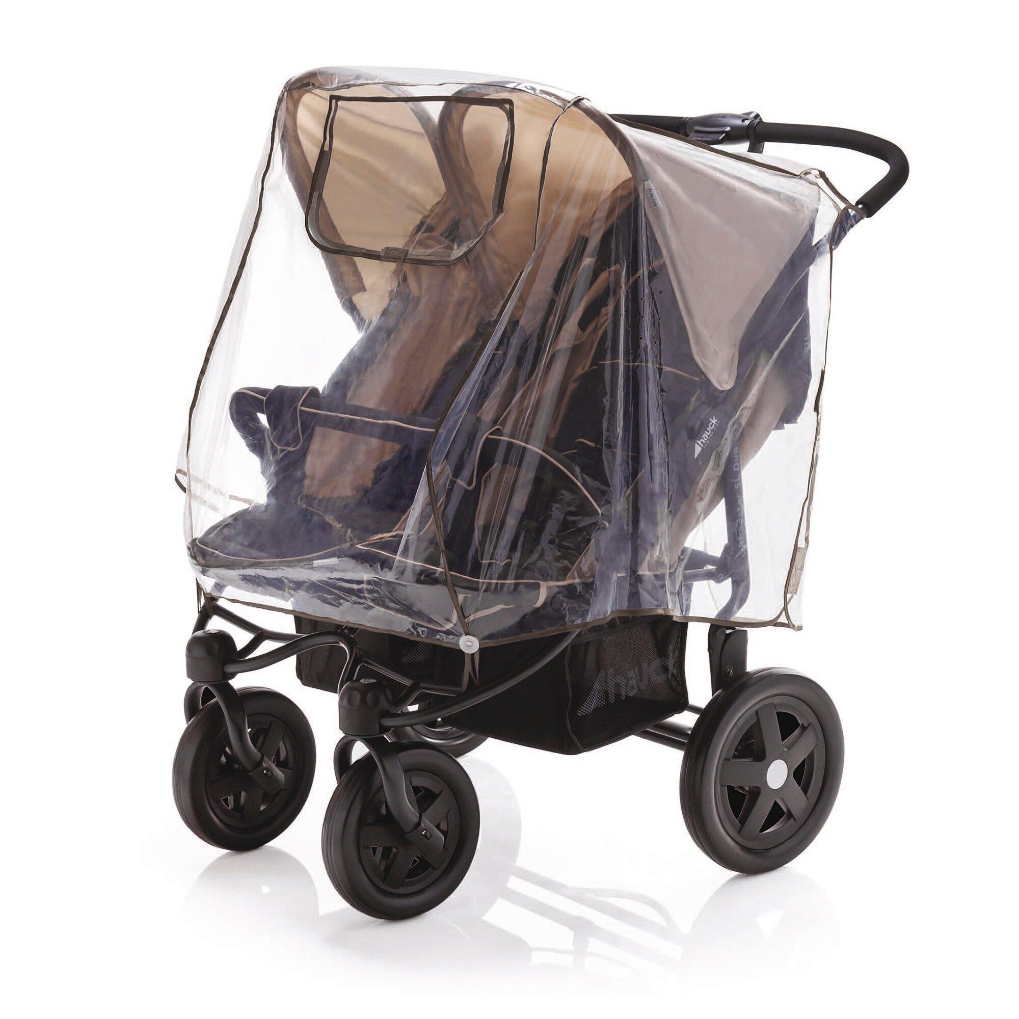 Diago Universal Regenschutz für Kinderwagen Zwillingswagen, Zwillingsbuggy transparent