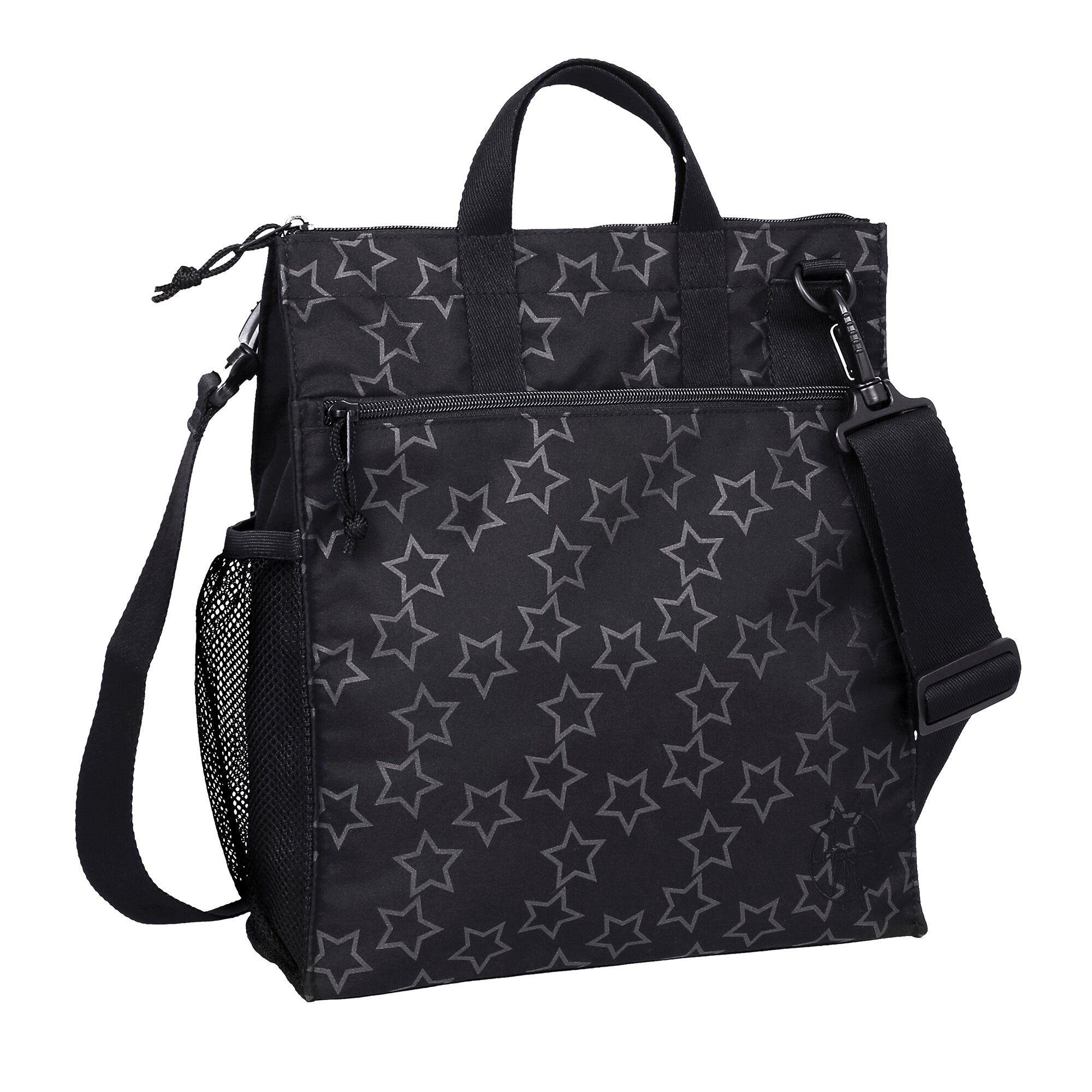 Casual Wickeltasche Buggy Bag Reflective Star schwarz