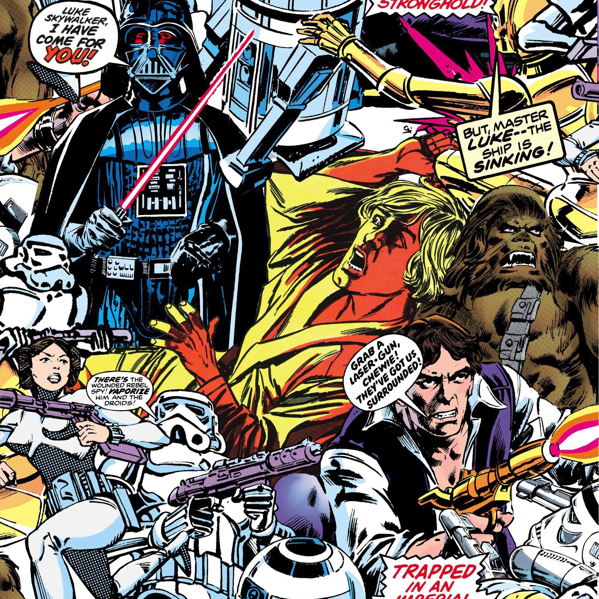 Star Wars Kinderzimmertapete Comic mehrfarbig