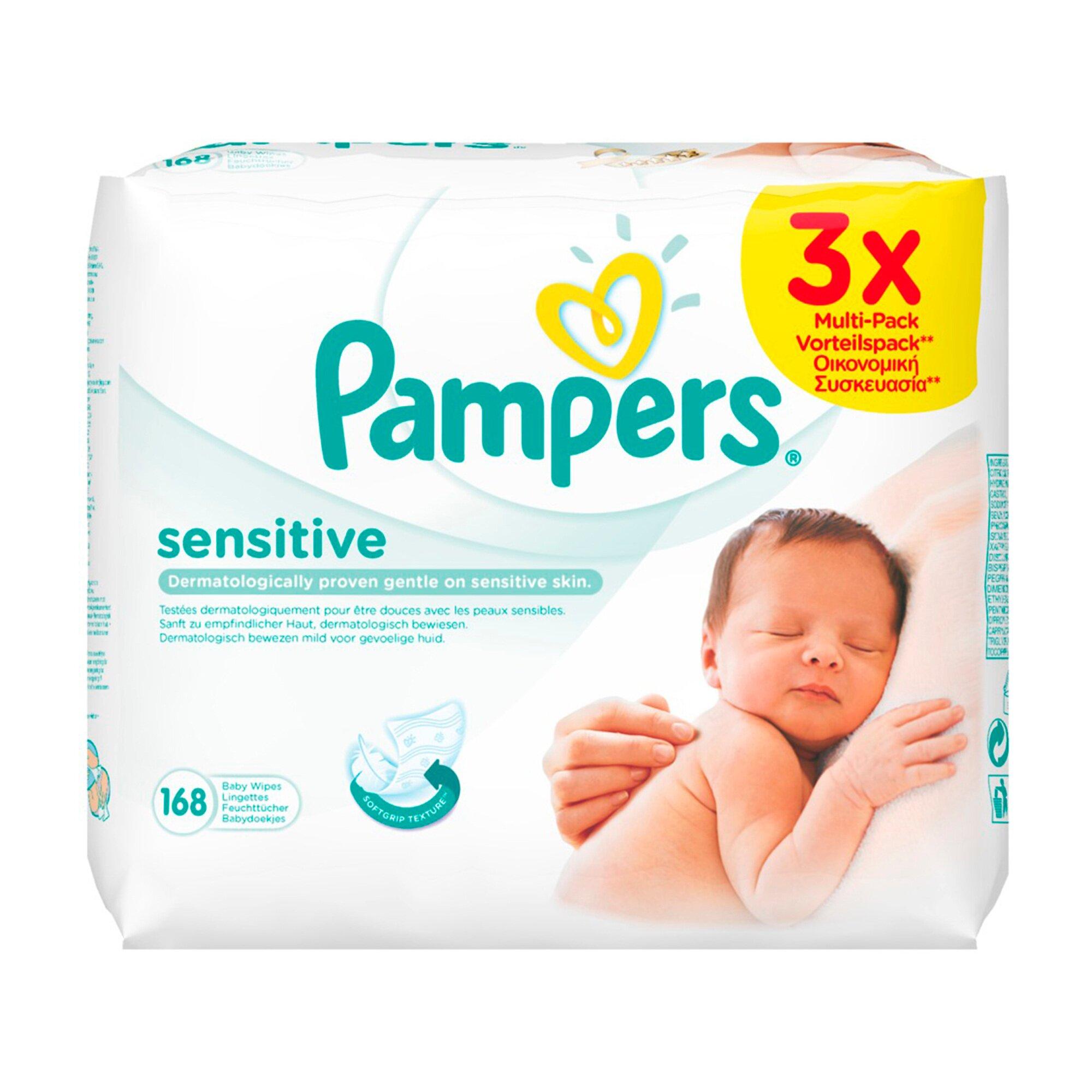 Pampers 3er-Pack Feuchttücher Sensitive, 168 Stück
