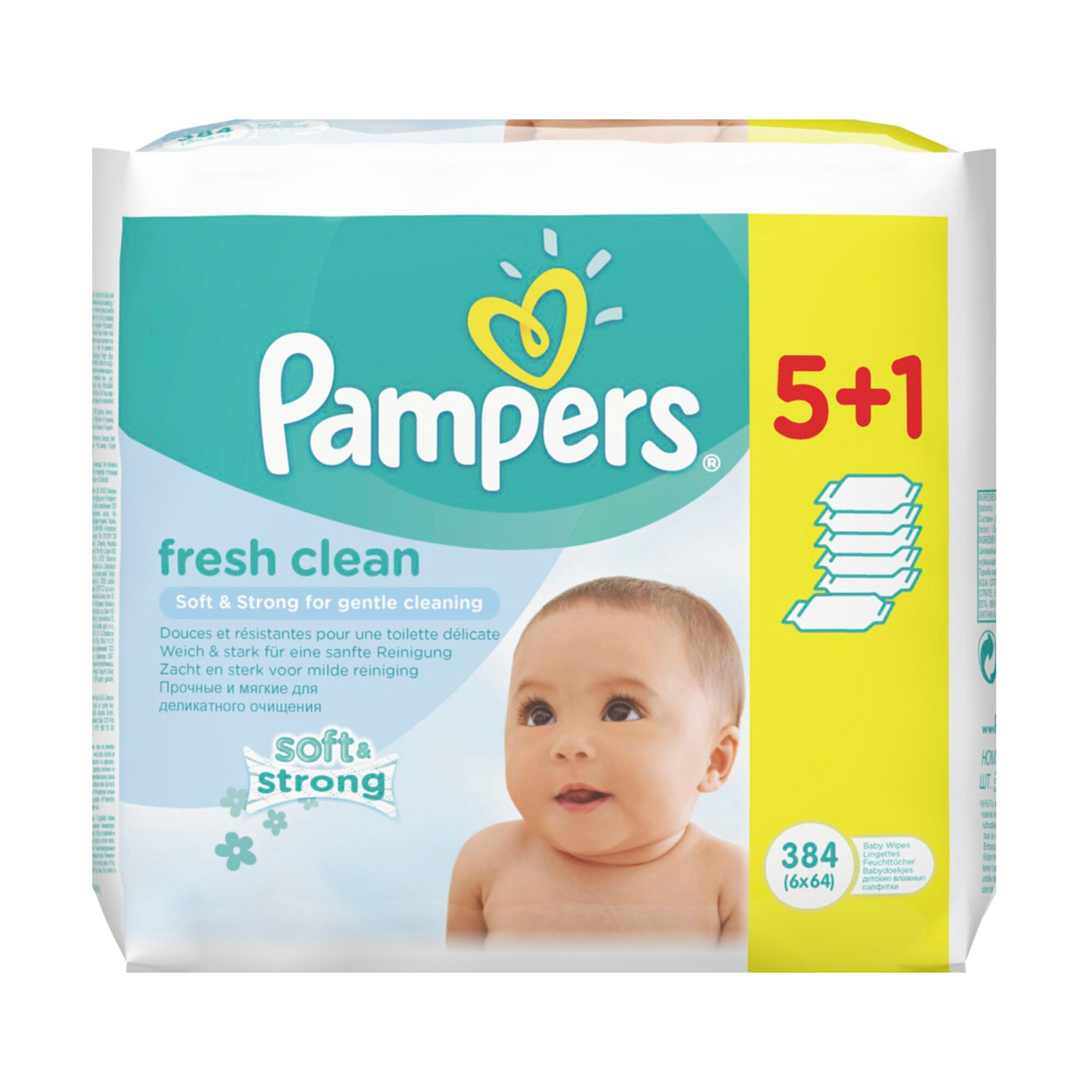 Pampers 3er-Pack Feuchttücher Fresh Clean, 384 Stück