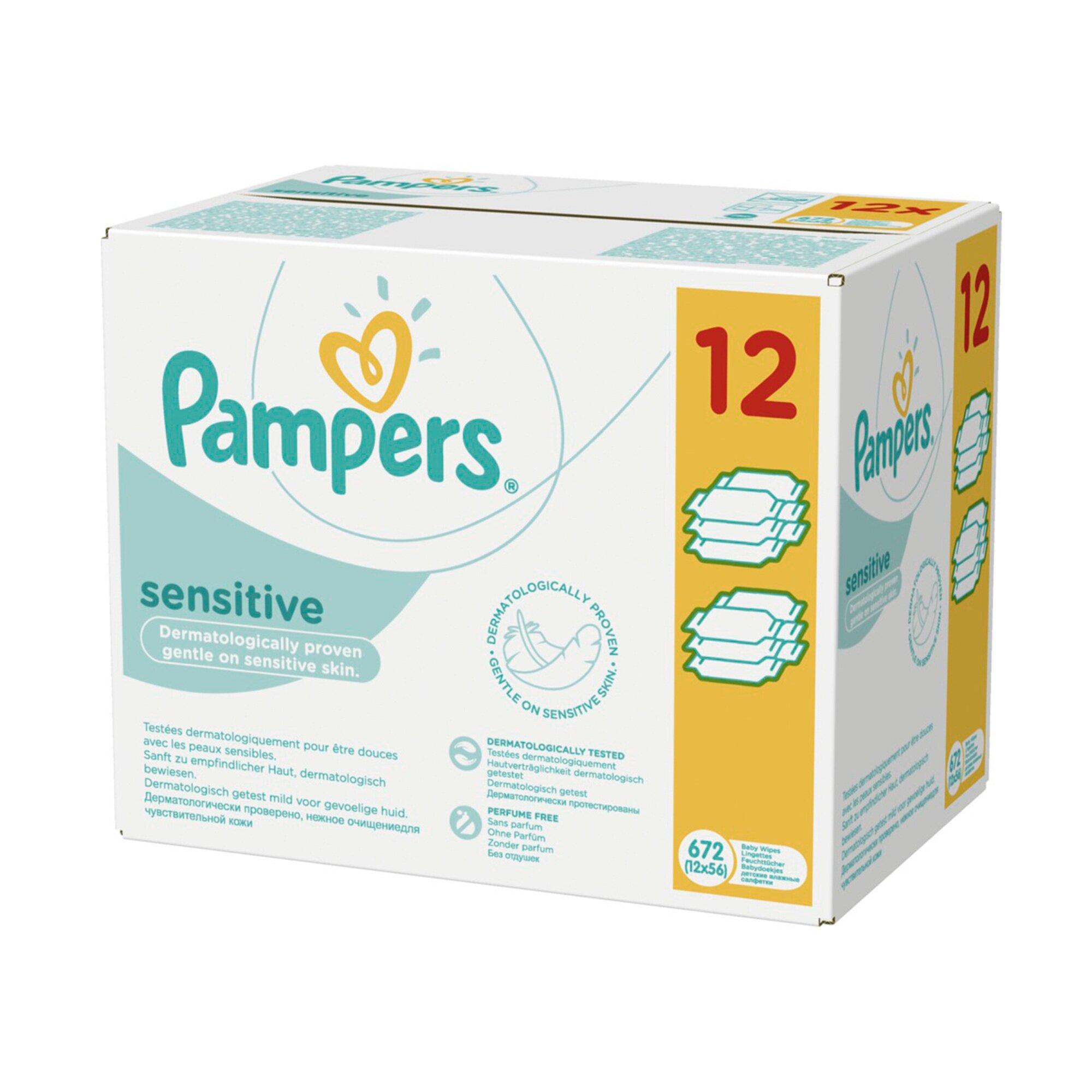 Pampers 12er-Pack Feuchttücher Sensitive, 672 Stück