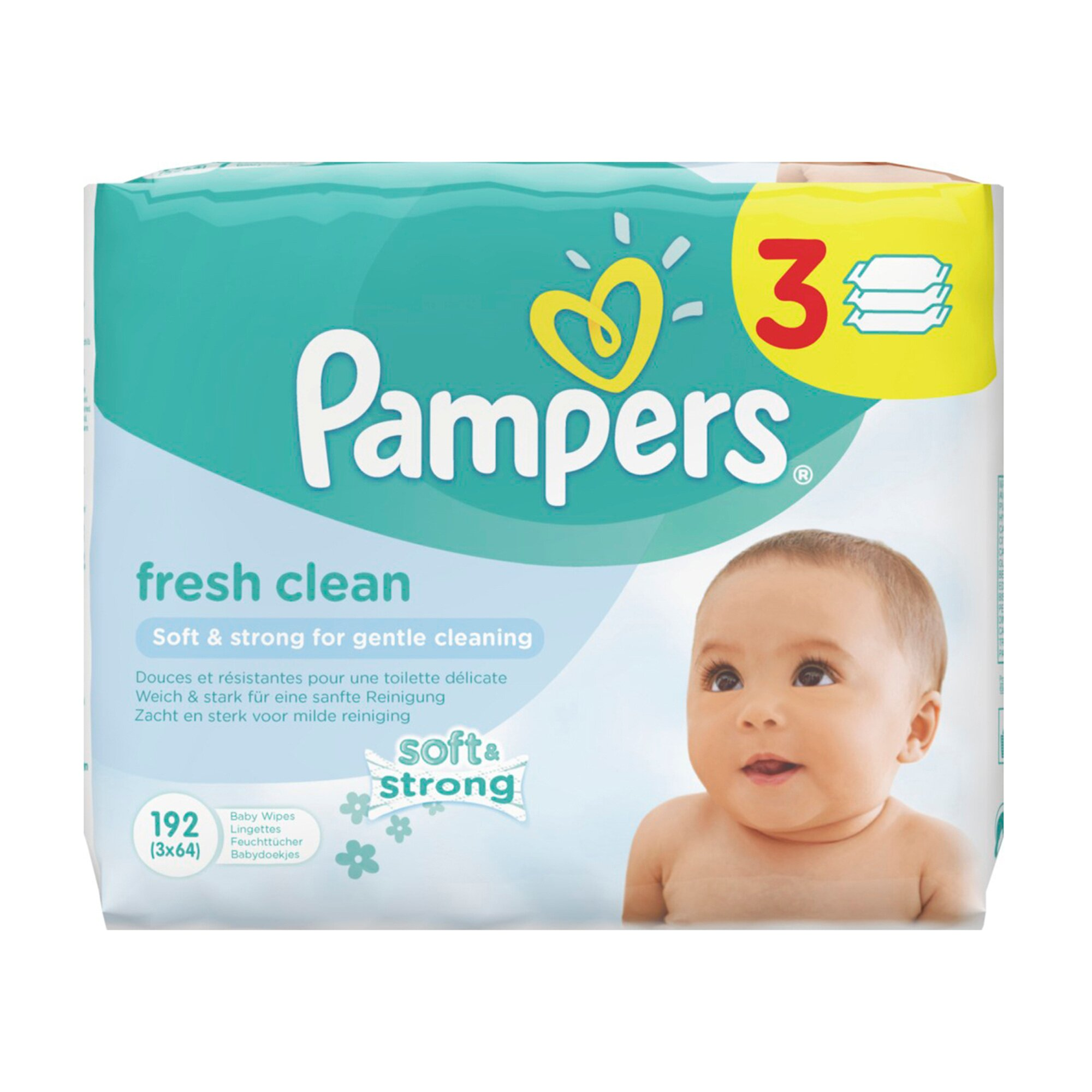 Pampers 3er-Pack Feuchttücher Fresh Clean, 192 Stück