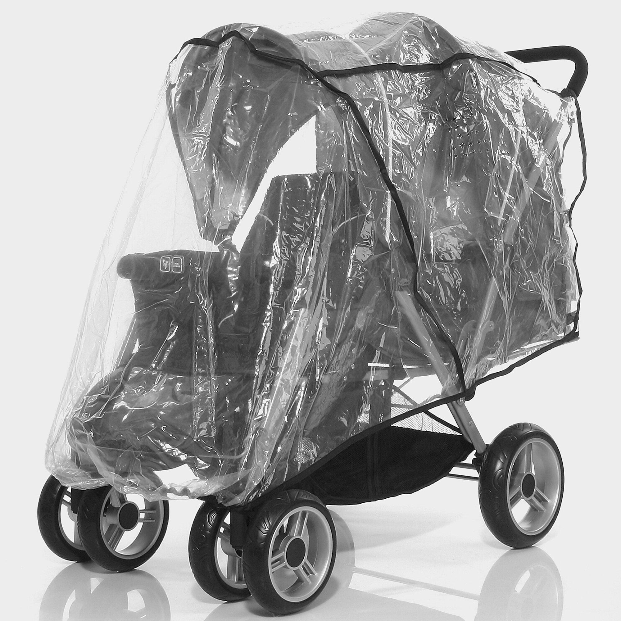 Tandem Regenschutz für Tandem Plus, Kinderwagen Geschwisterwagen transparent