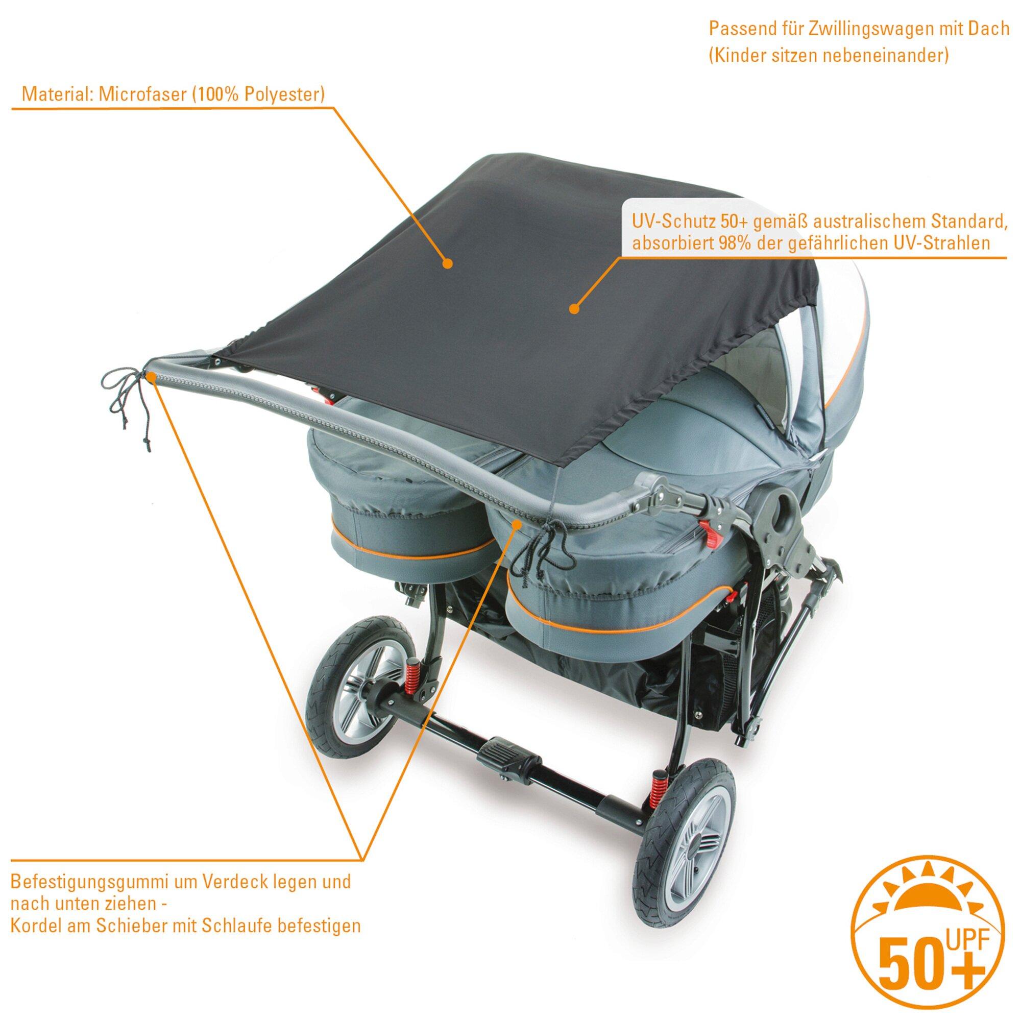 Diago Sonnensegel mit UV-Schutz für Kinderwagen Zwillingswagen