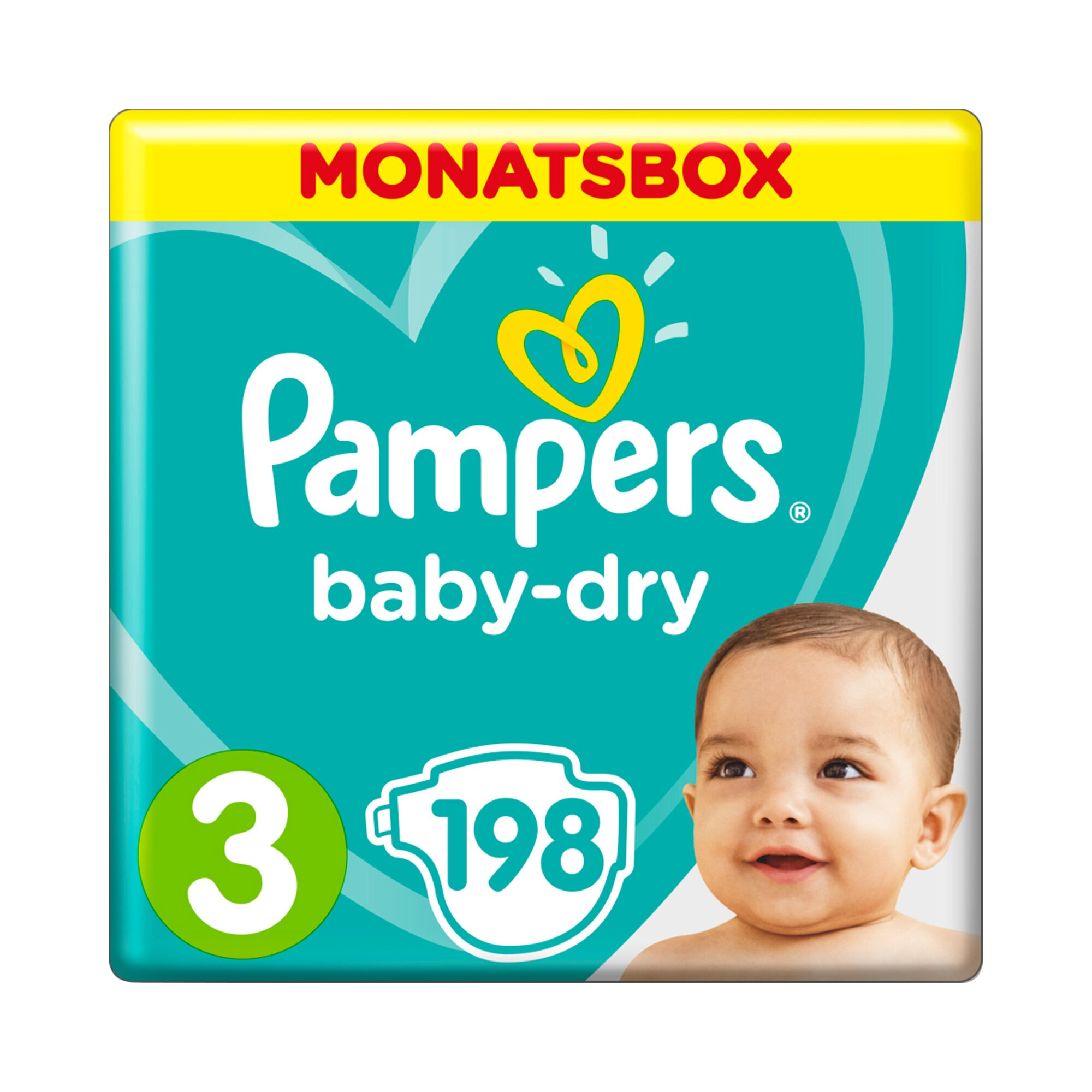 Pampers Baby Dry Windeln Gr. 3 6-10 kg Monatsbox 198 St.