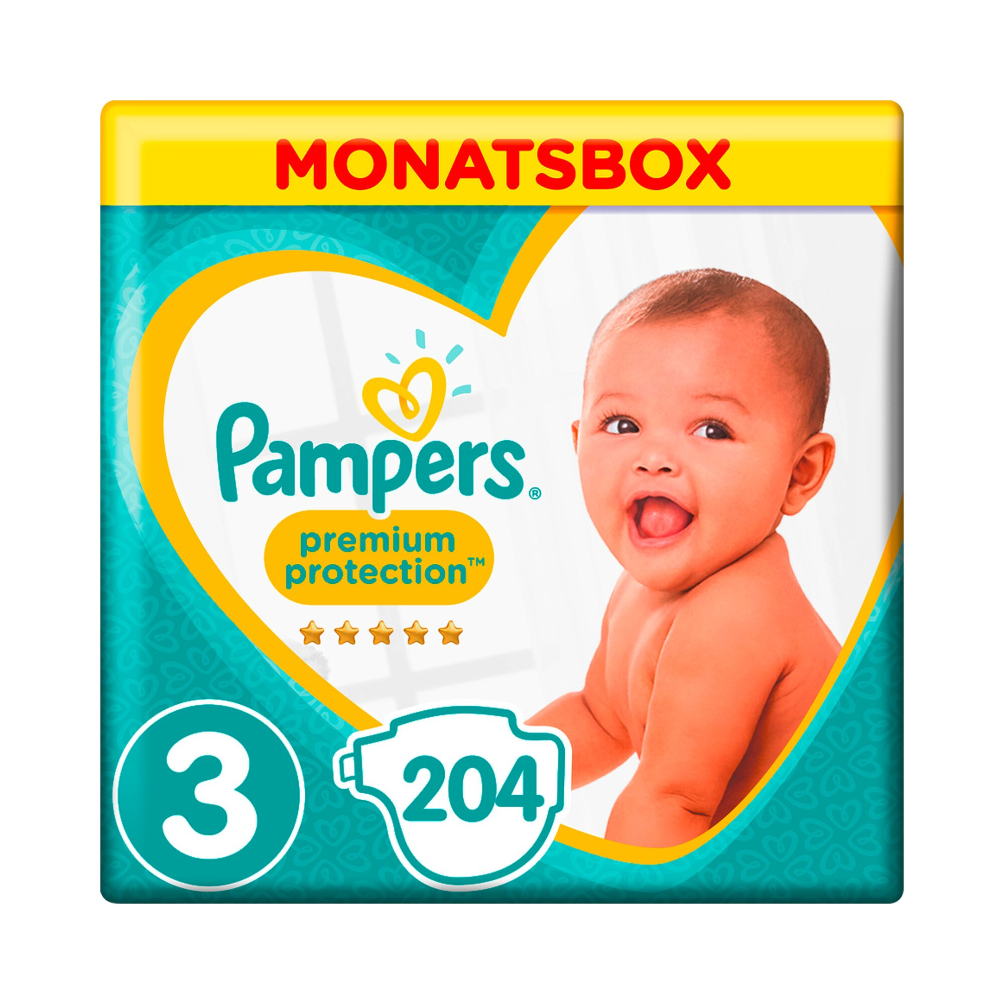 Pampers Premium Protection Windeln Gr. 3 6-10 kg Monatsbox 204 St.