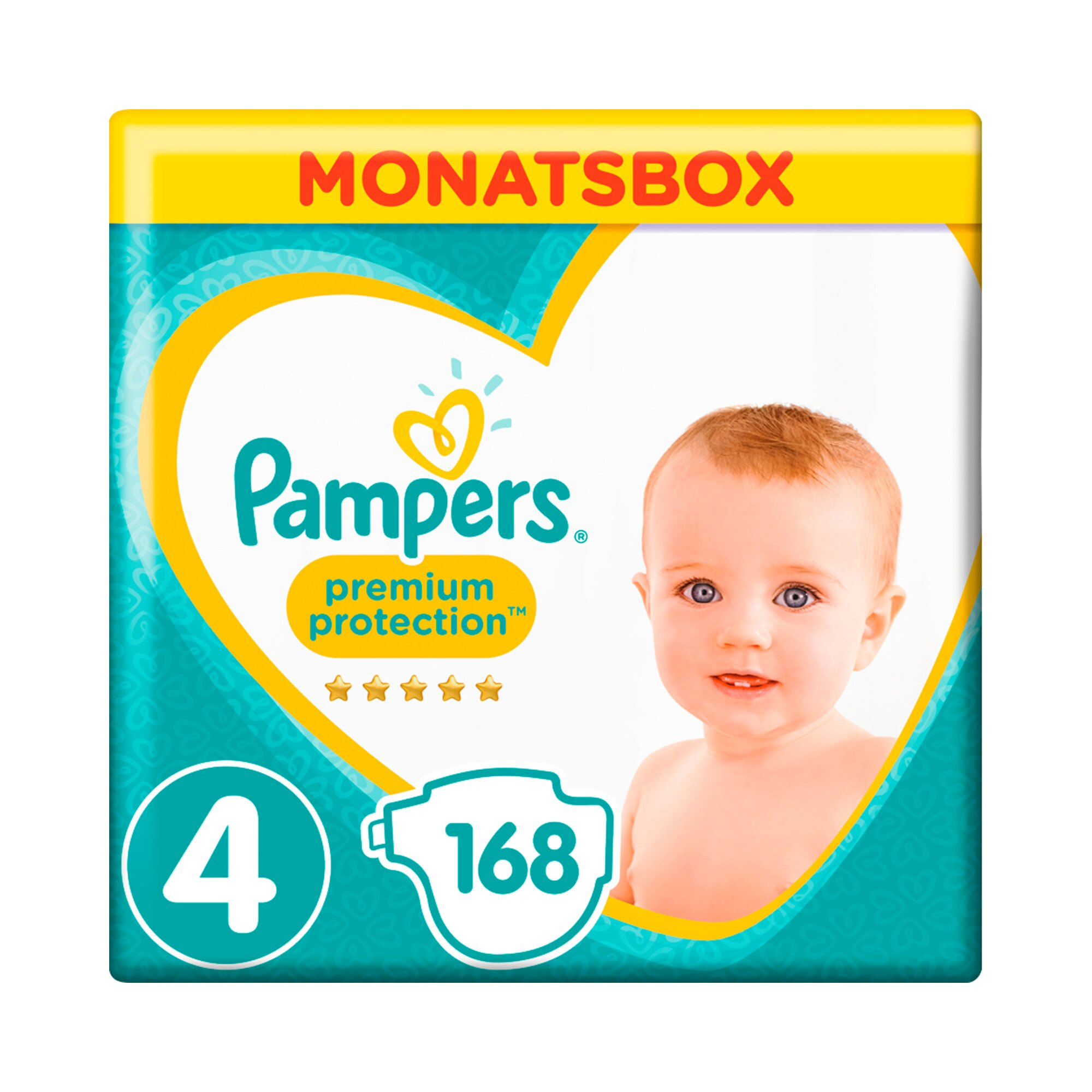Pampers Premium Protection Windeln Gr. 4 9-14 kg Monatsbox 168 St.