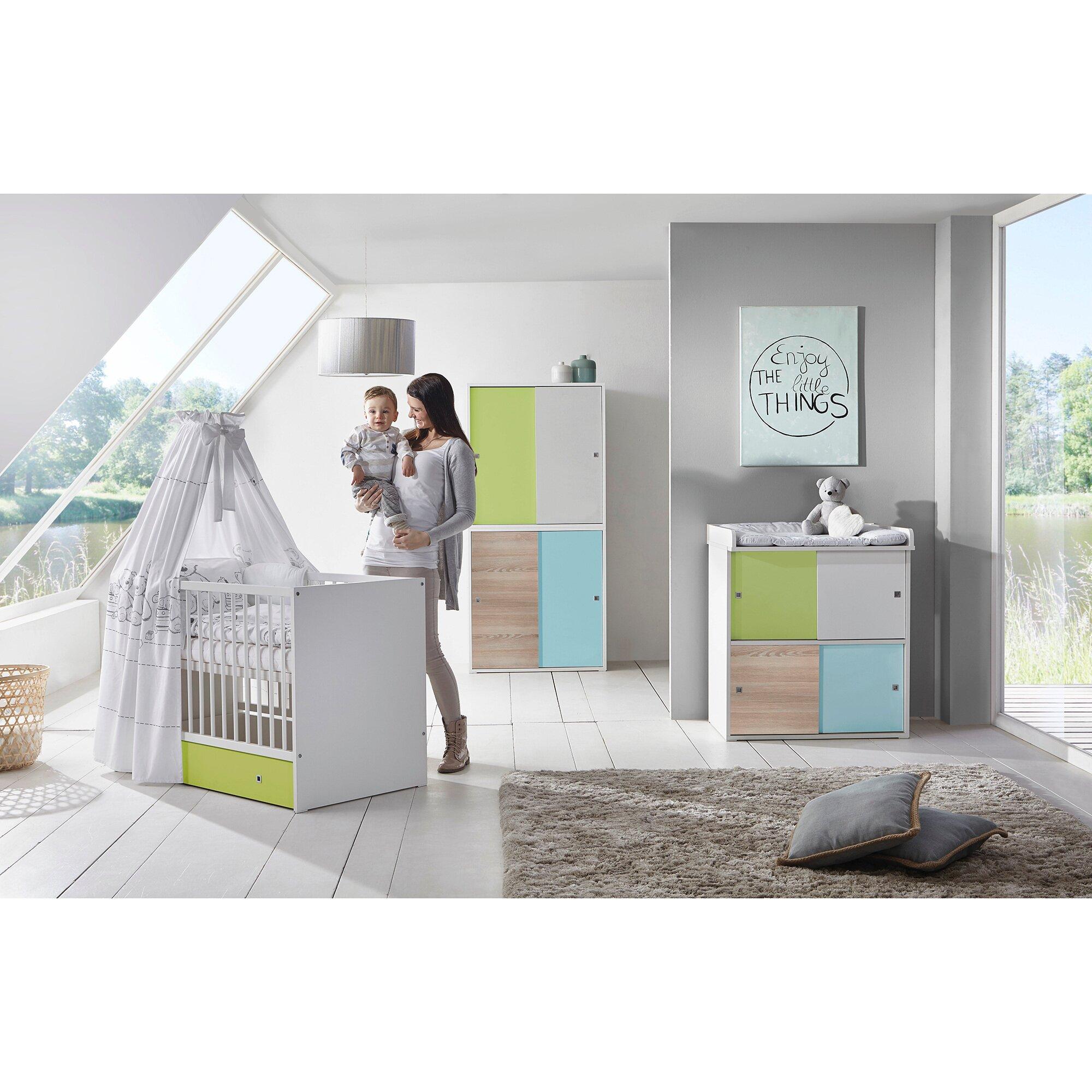 Clic Komplett-Kinderzimmer CLIC 3-tlg. (Kombi-Kinderbett, Wickelkommode, Kleiderschrank)