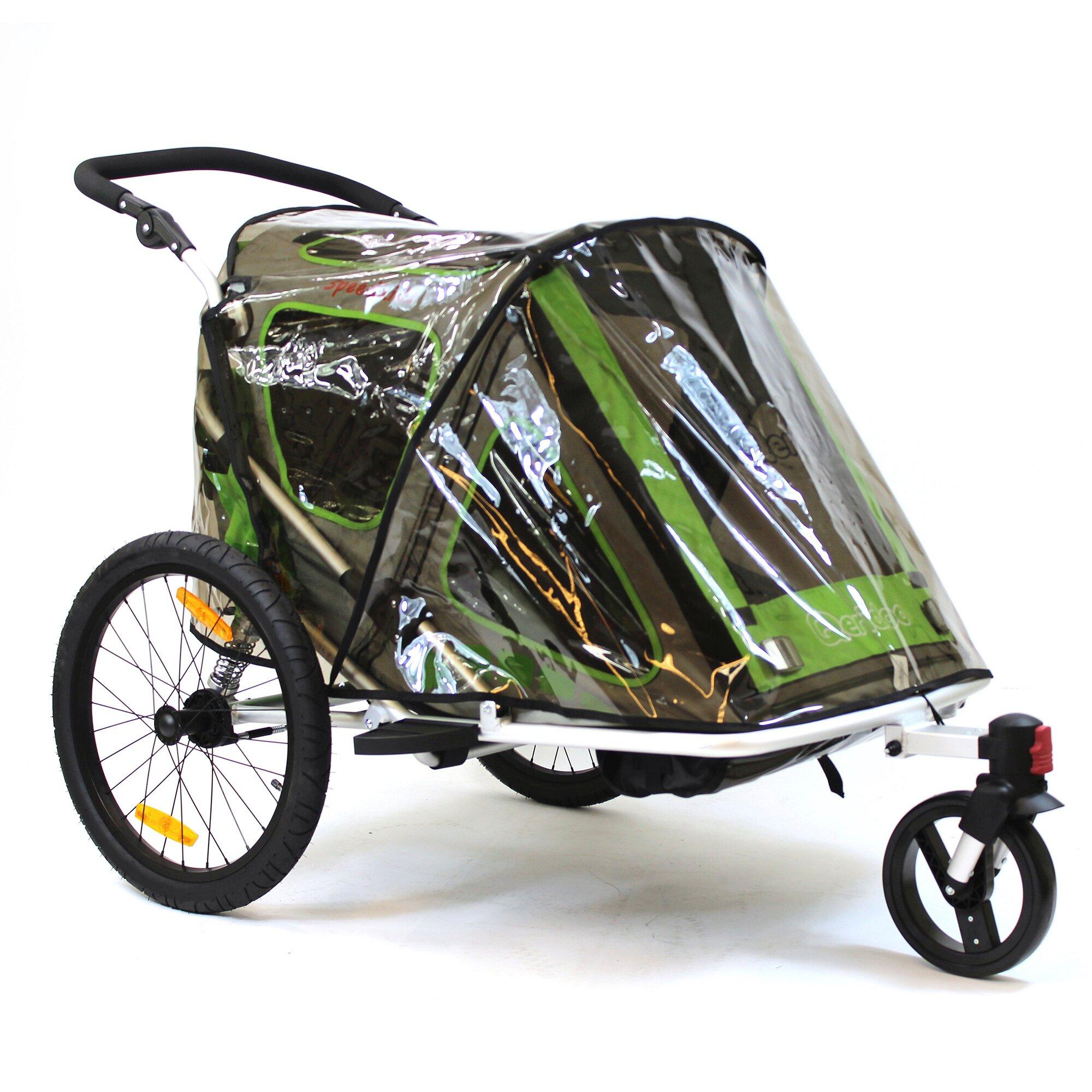 Qeridoo Regenschutz für Kinderfahrradanhänger Speedkid2