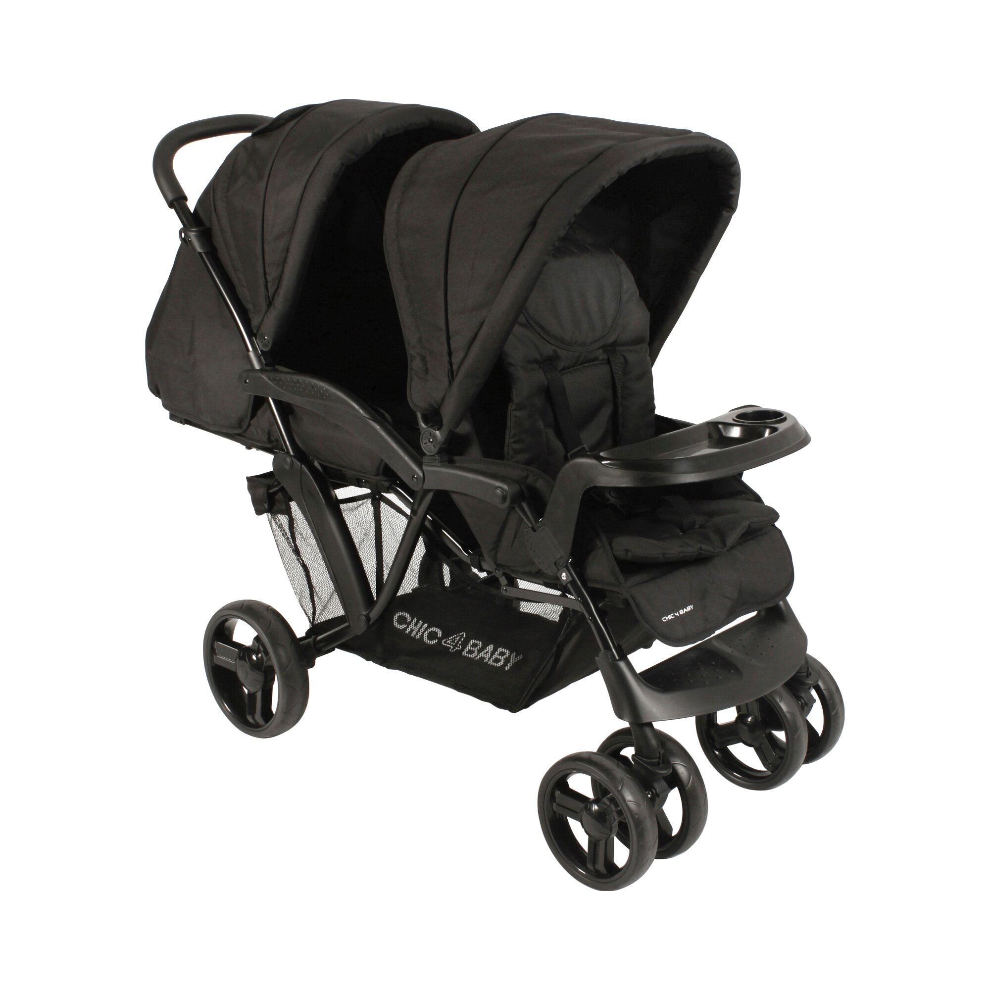 Chic 4 Baby Doppio Kinderwagen Geschwisterwagen schwarz