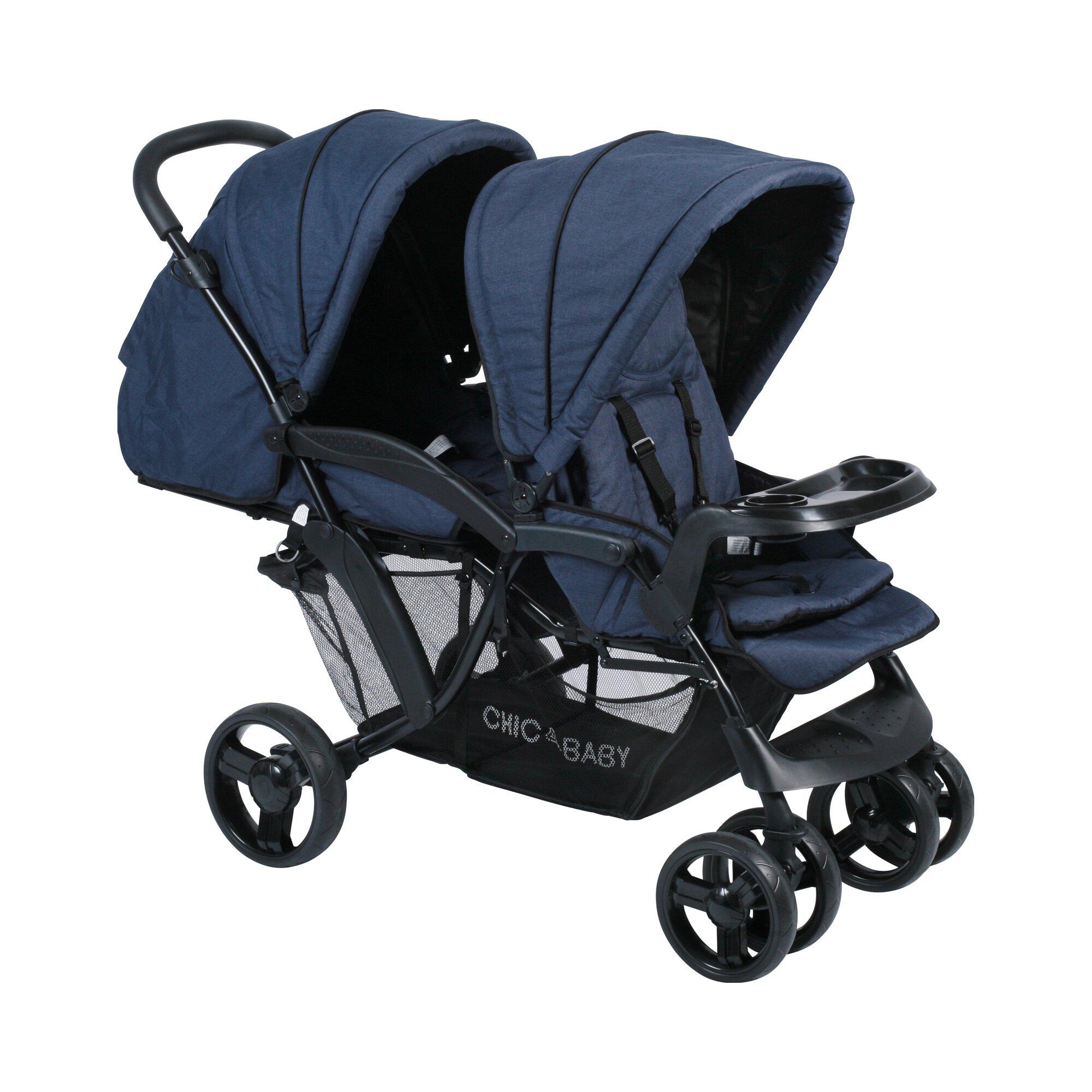 Chic 4 Baby Doppio Zwillings- und Kinderwagen Geschwisterwagen blau