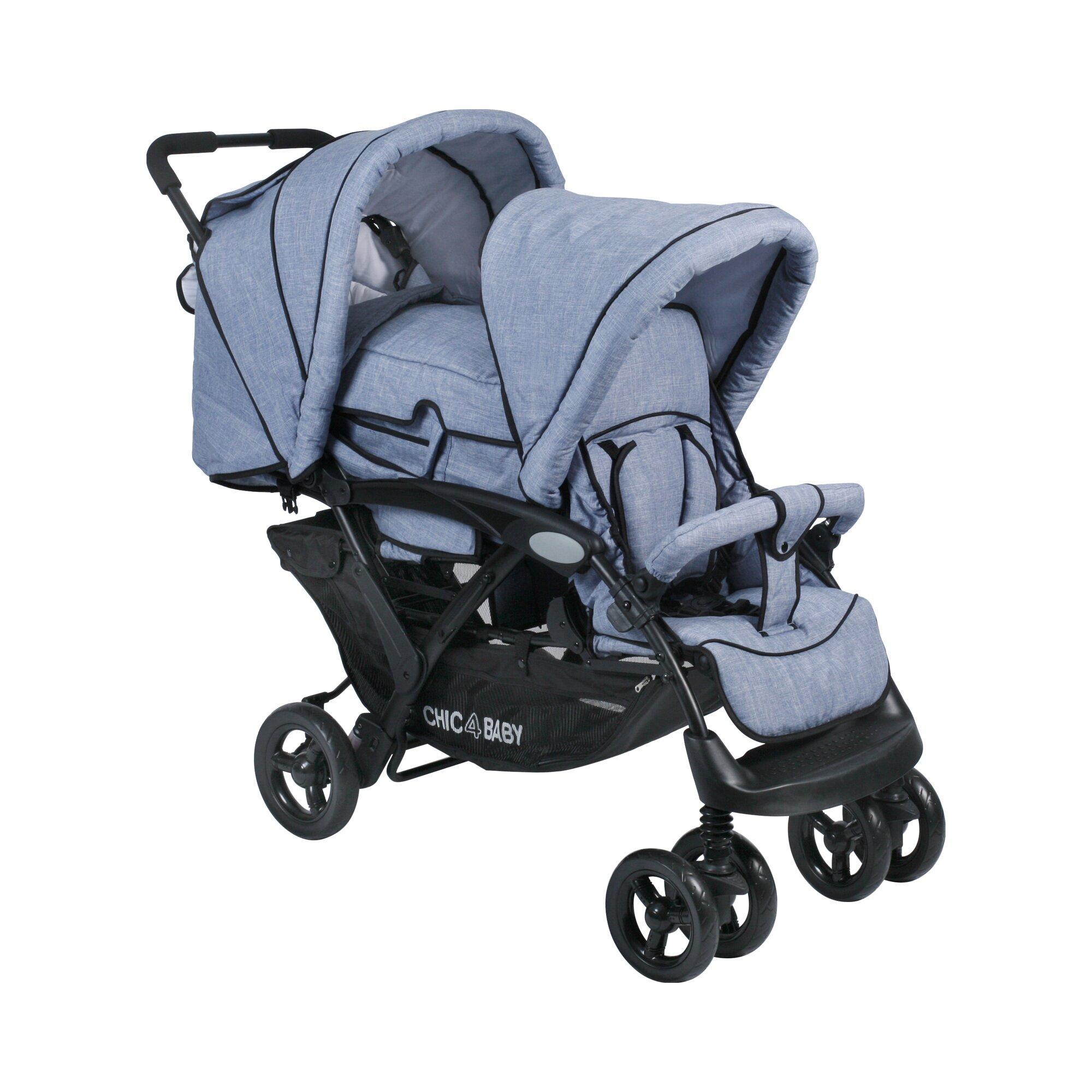 Chic 4 Baby Duo Zwillings- und Kinderwagen Geschwisterwagen blau