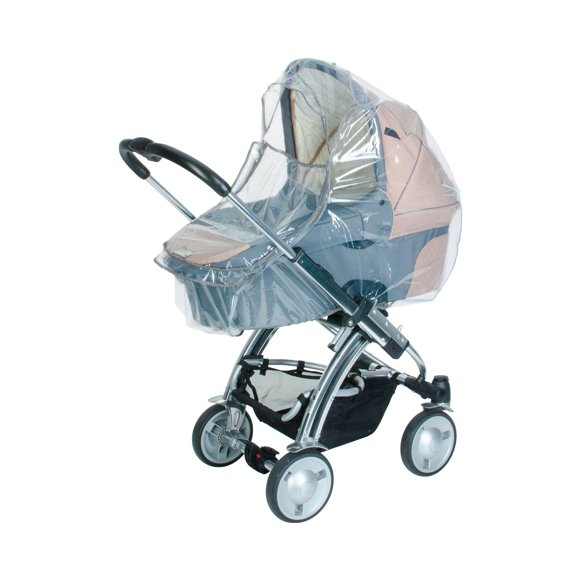 Diago Regenschutz mit Reißverschluss und Reflektor für Kinderwagen und Buggy transparent