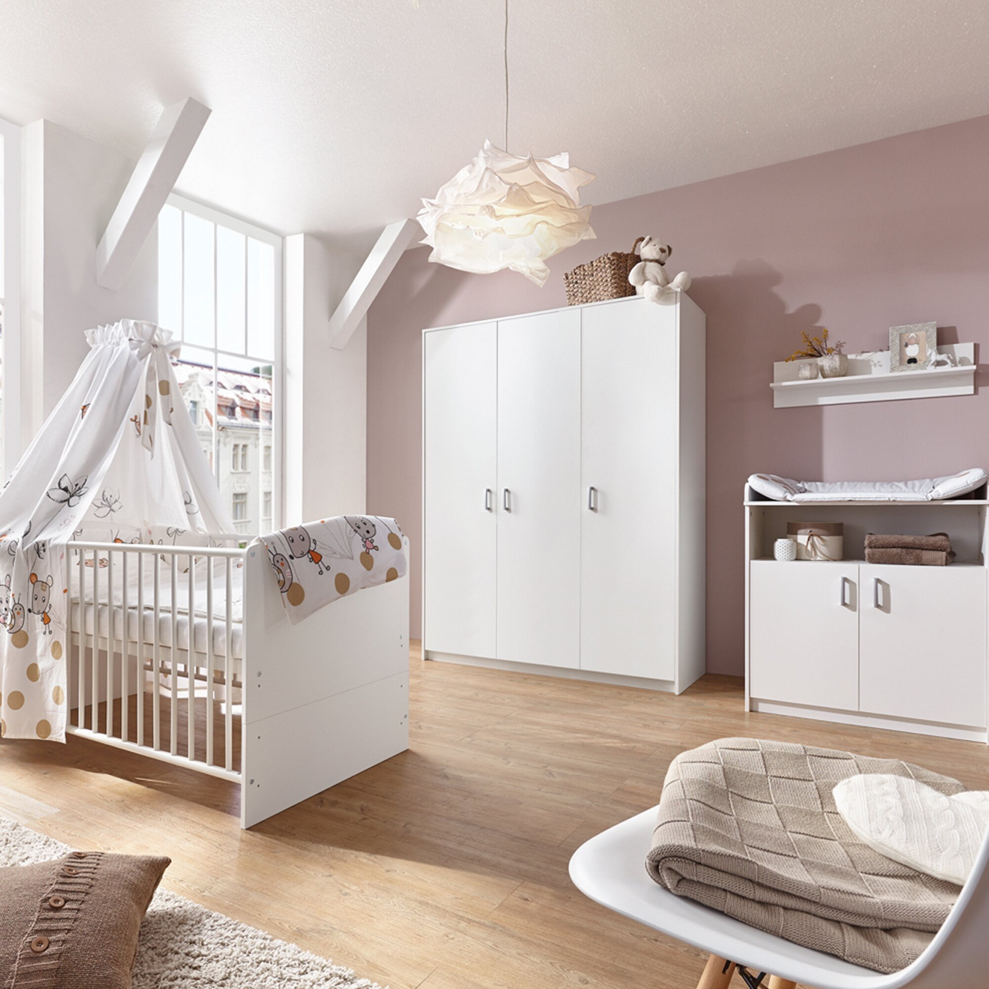 Schardt 3-tlg. Babyzimmer Classic White mit 3-türigem Kleiderschrank