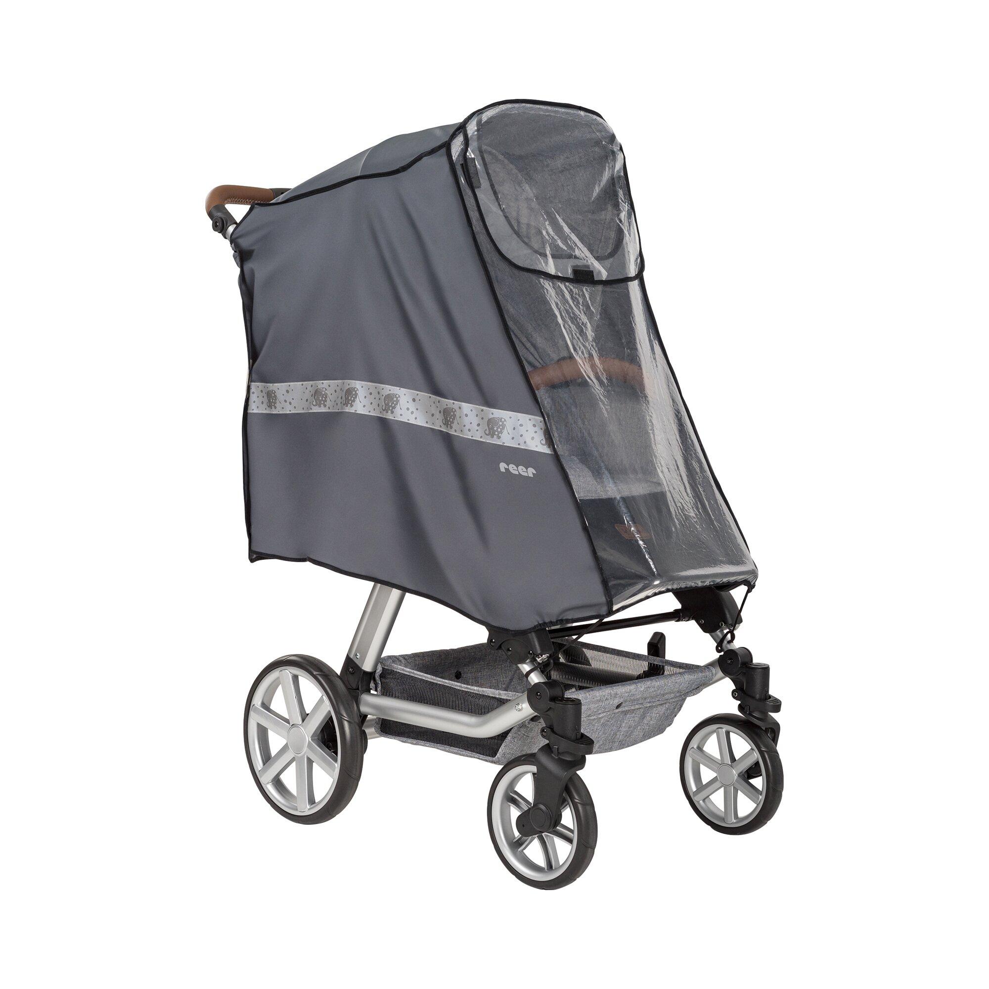 Reer Regenschutz RainSafe Active für Buggy, Kinderwagen Sportwagen transparent