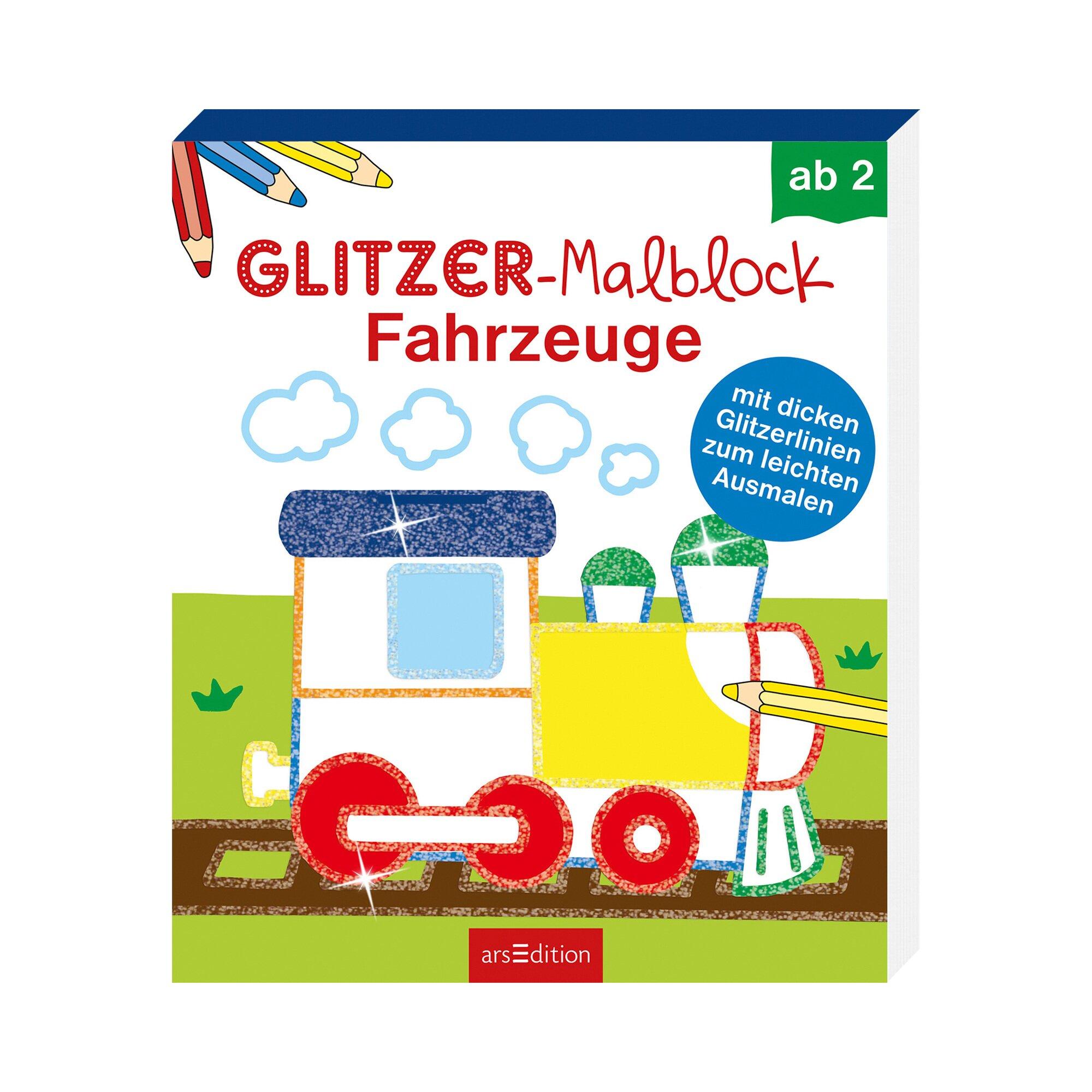 Ars Edition Malbuch Glitzer-Malblock Fahrzeuge