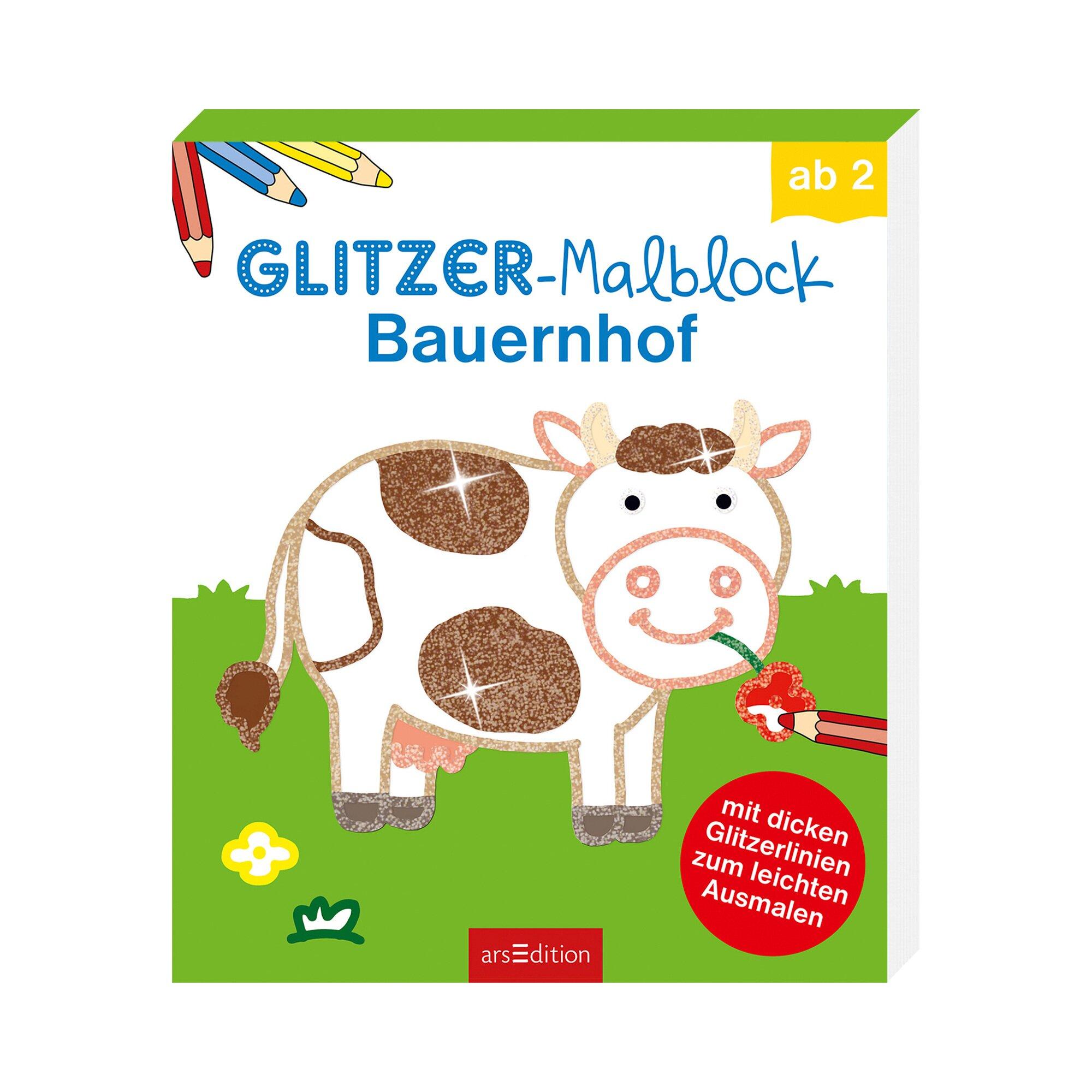Arsedition Malbuch Glitzer-Malblock Bauernhof