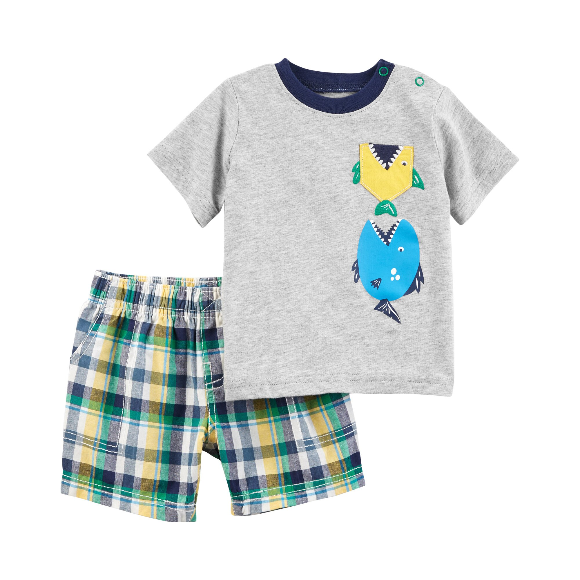 Carter´S 2-tlg. Set T-Shirt und Shorts Karo Fische