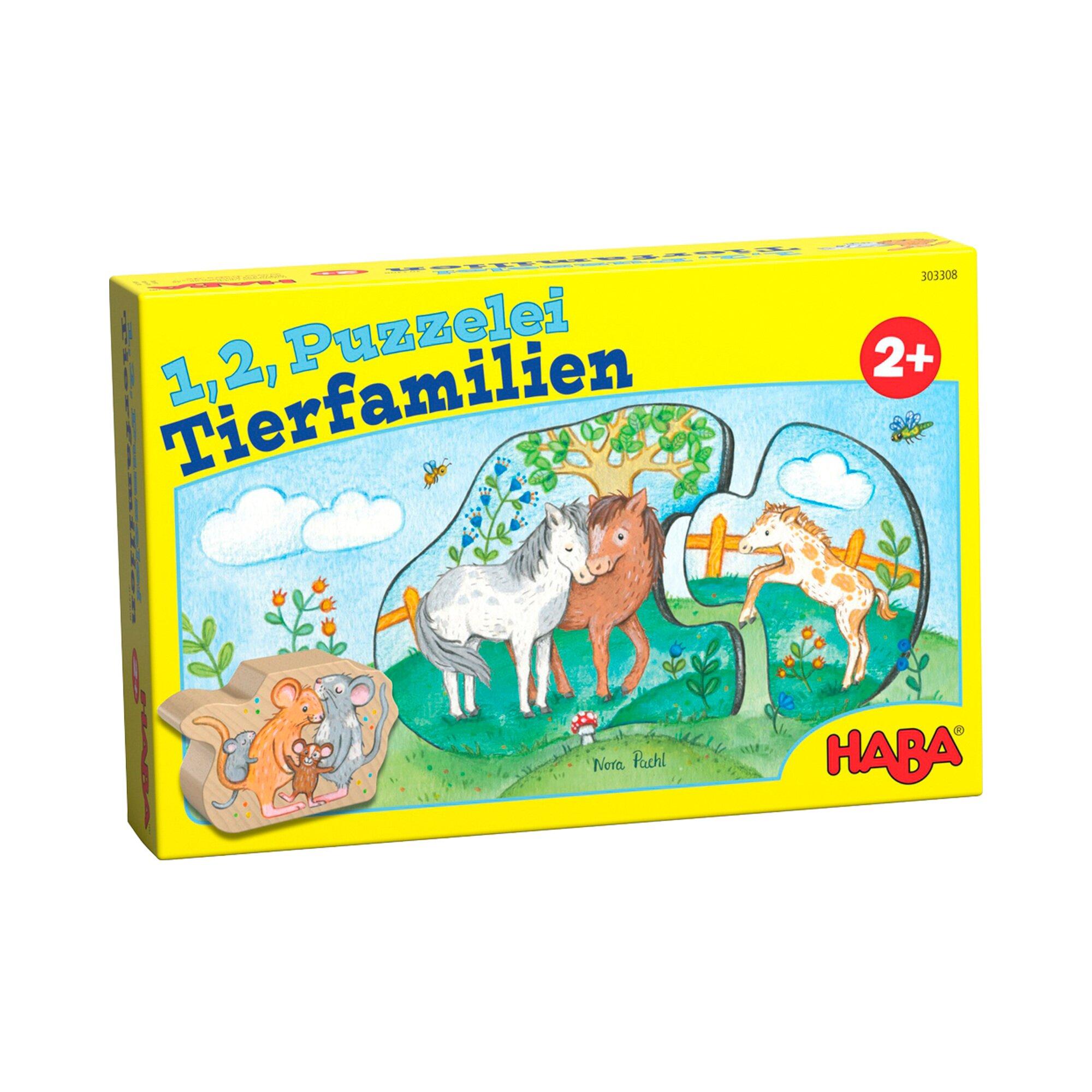 Haba Puzzle - 1, 2, Puzzelei Tierfamilien