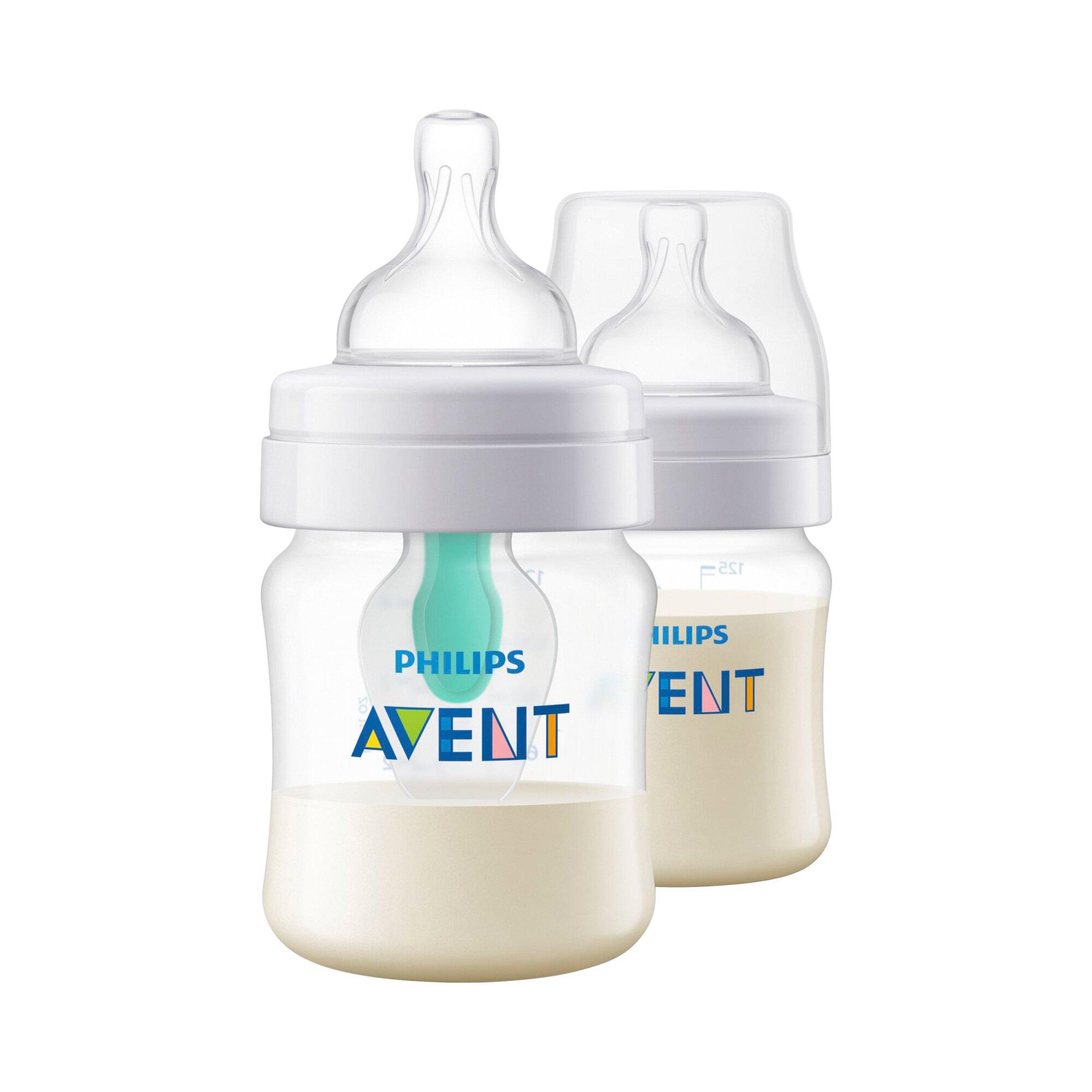 Philips Avent 2er-Pack Anti-Kolik-Weithals-Flasche Klassik+, SCF810/24, mit AirFree-Ventileinsatz, 125ml, Kunststoff, ab Geburt