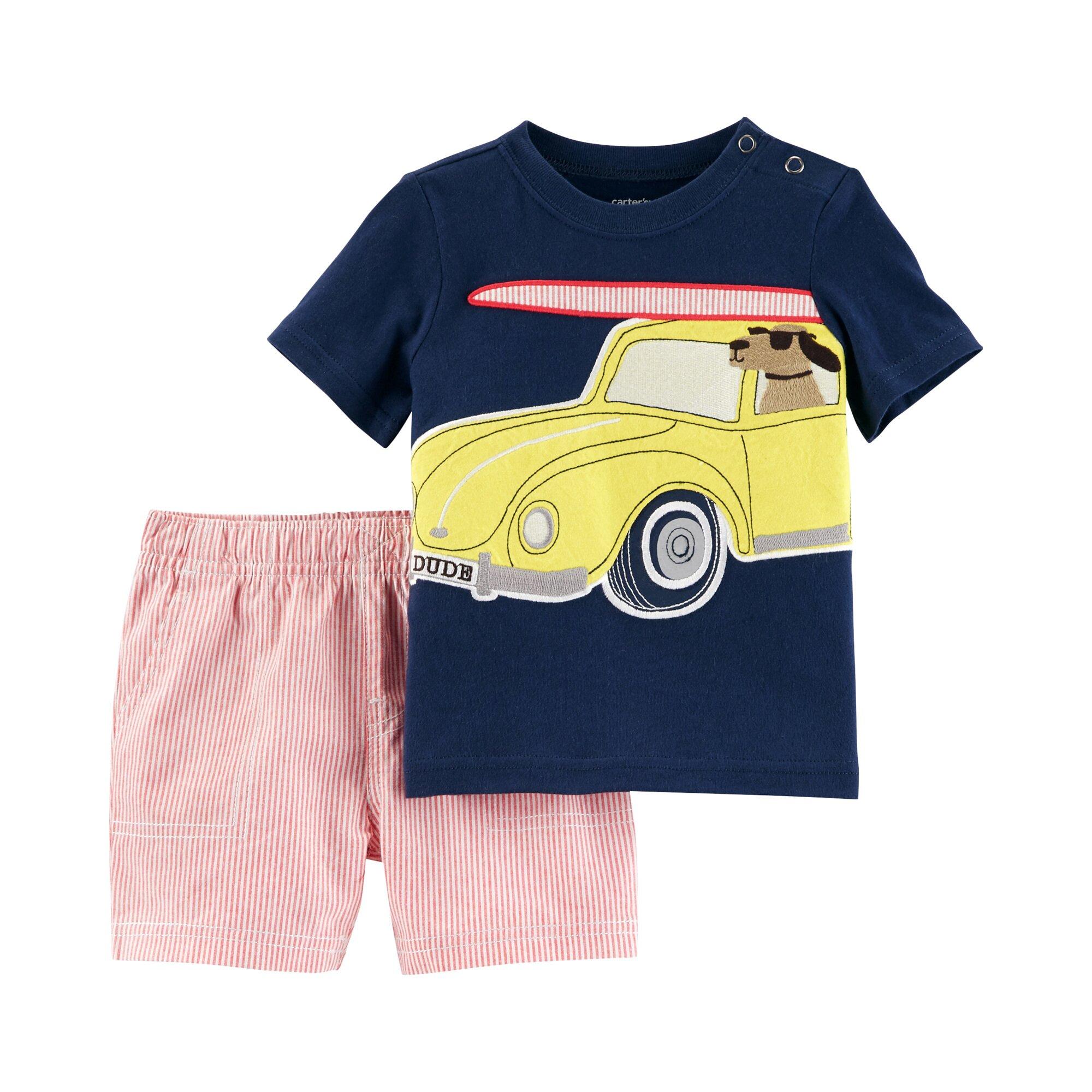 Carter´S 2-tlg. Set T-Shirt und Shorts Auto Ringel