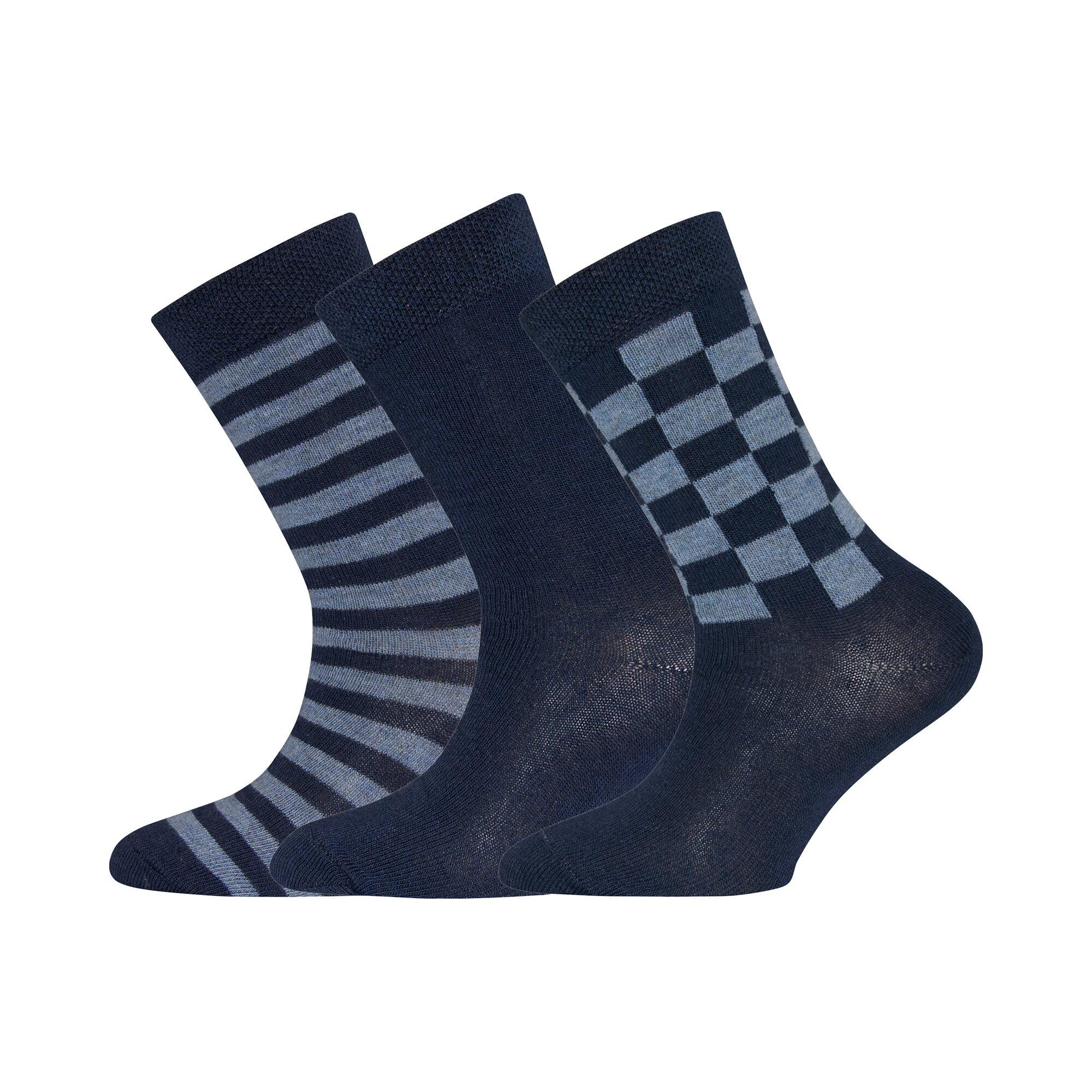 Ewers 3er-Pack Socken Karo Ringel