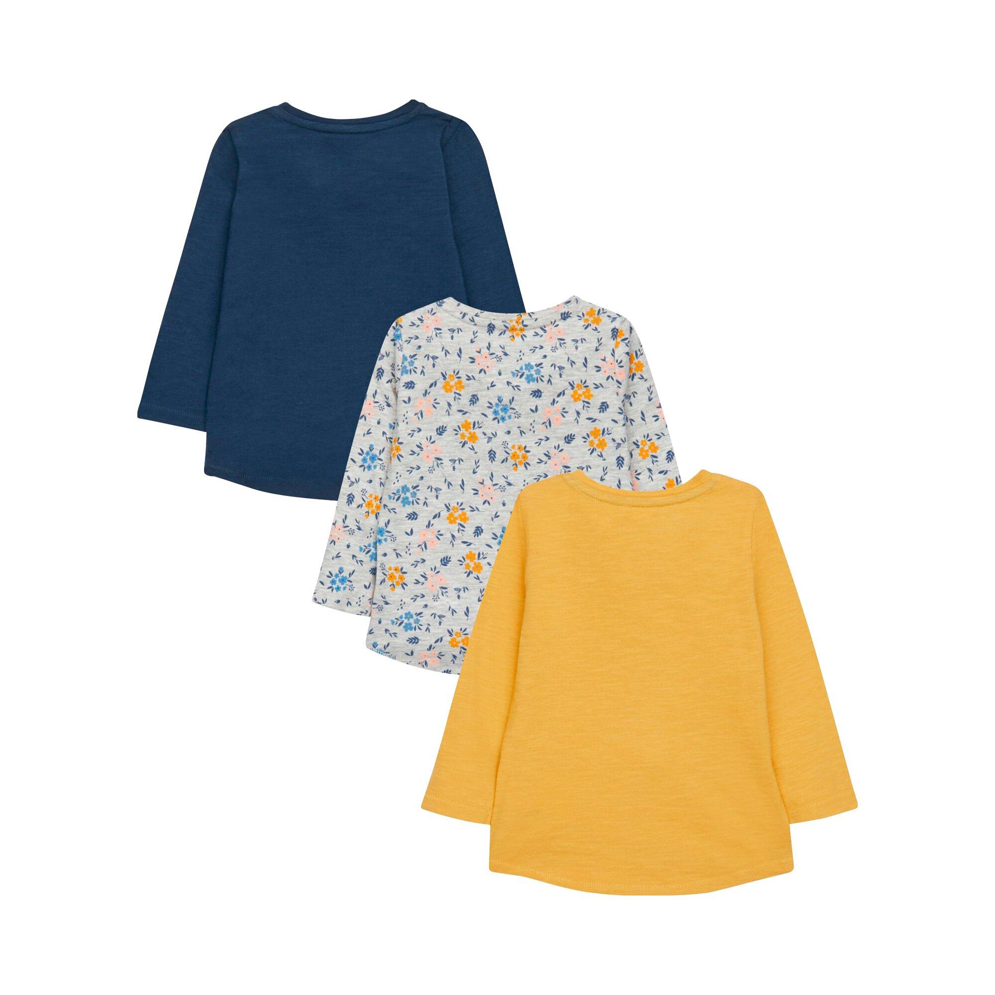 mothercare-3er-pack-shirts-langarm-blumen-und-hasen