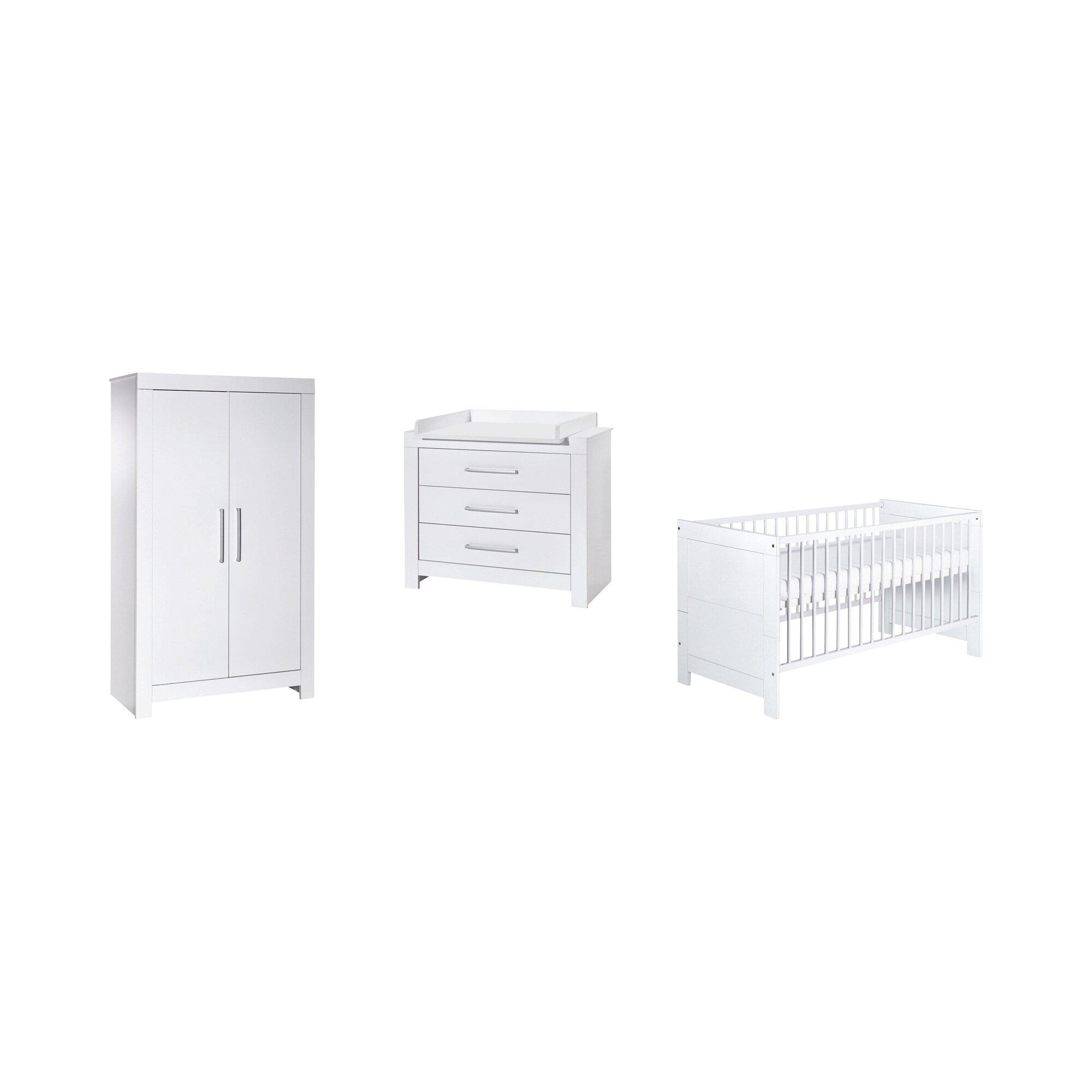Schardt 3-tlg. Babyzimmer Nordic White mit 2-türigem Kleiderschrank
