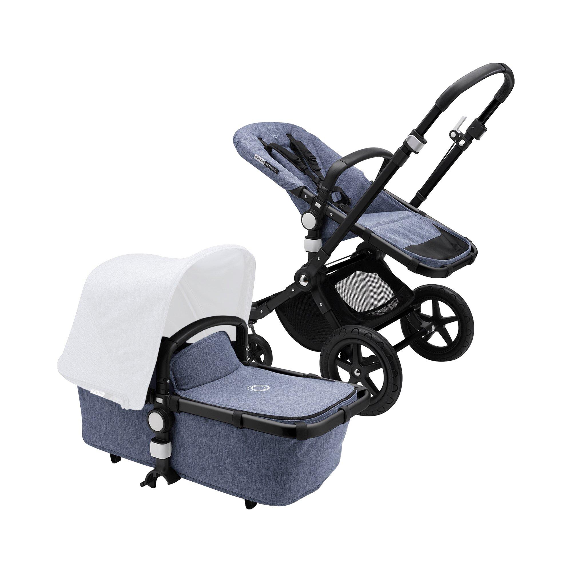 cameleon³ Plus Kombikinderwagen Gestell Basis mit Sportsitzeingang und Liegewannenbezug blau