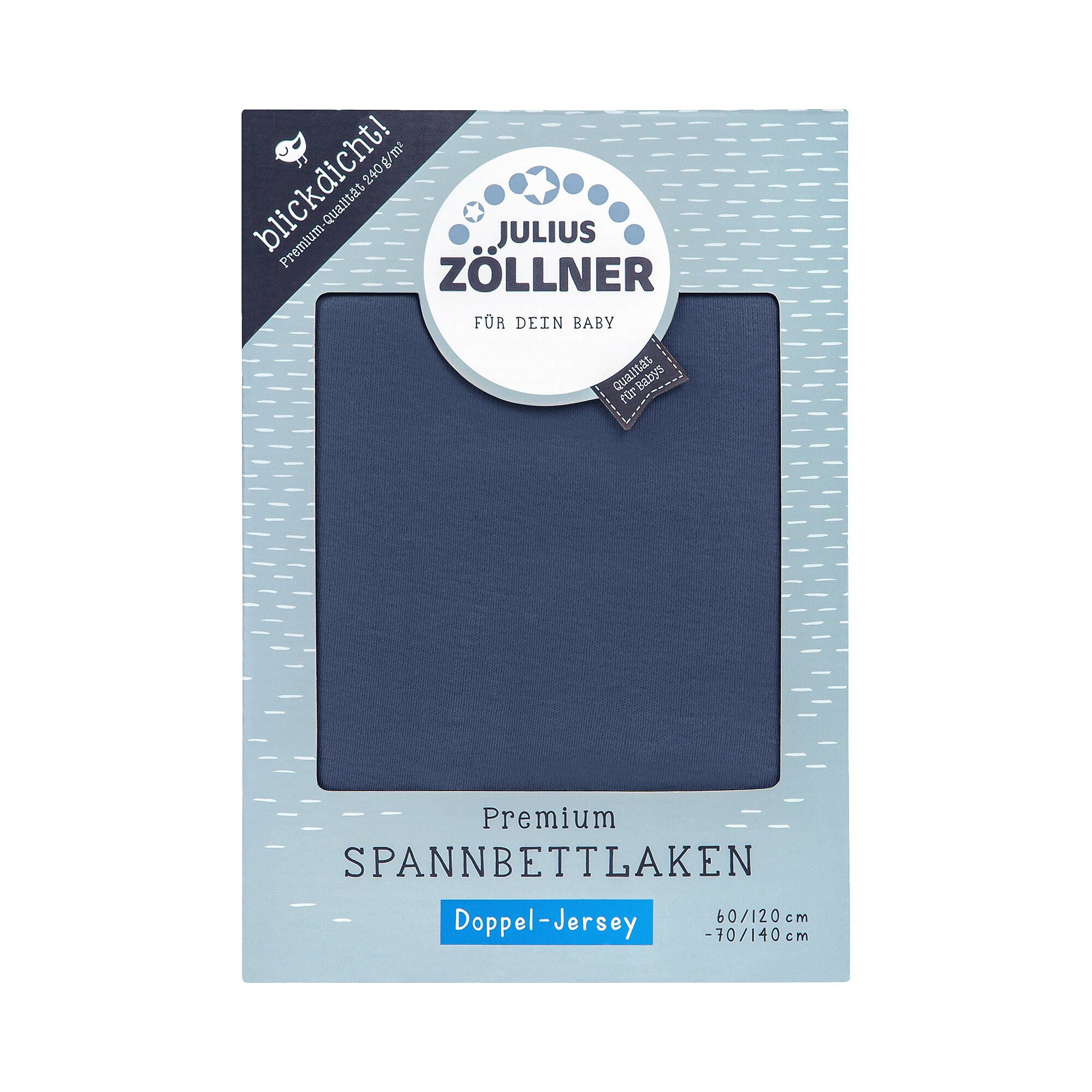 Julius Zöllner Doppeljersey-Spannbetttuch Premium 60/120 - 70/140 cm blau