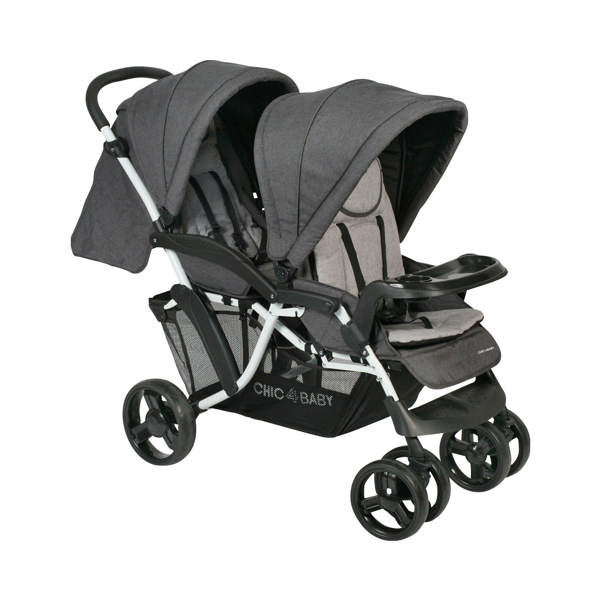 Chic 4 Baby Doppio Zwillings- und Kinderwagen Geschwisterwagen grau
