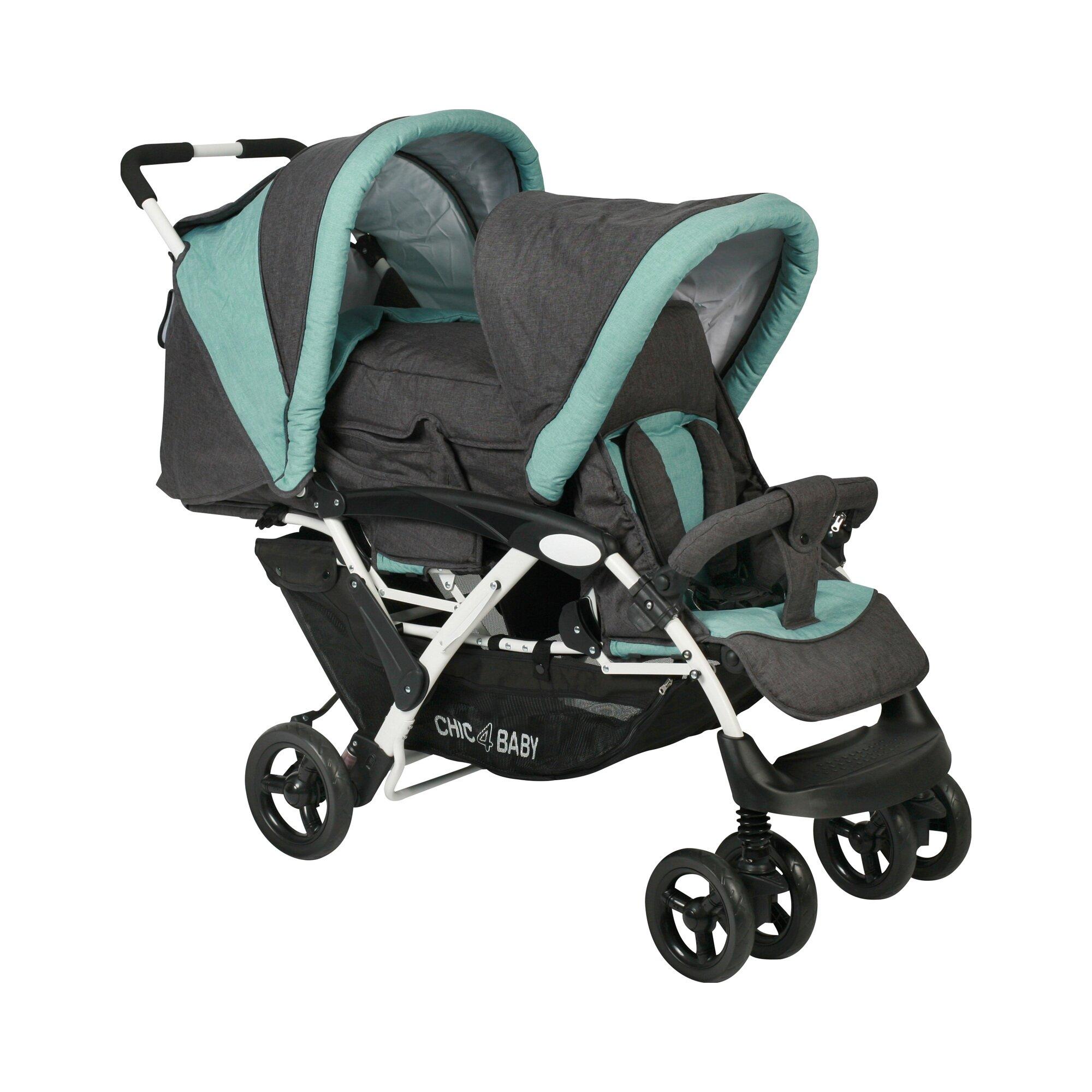 Chic 4 Baby Duo Zwillings- und Kinderwagen Geschwisterwagen grau