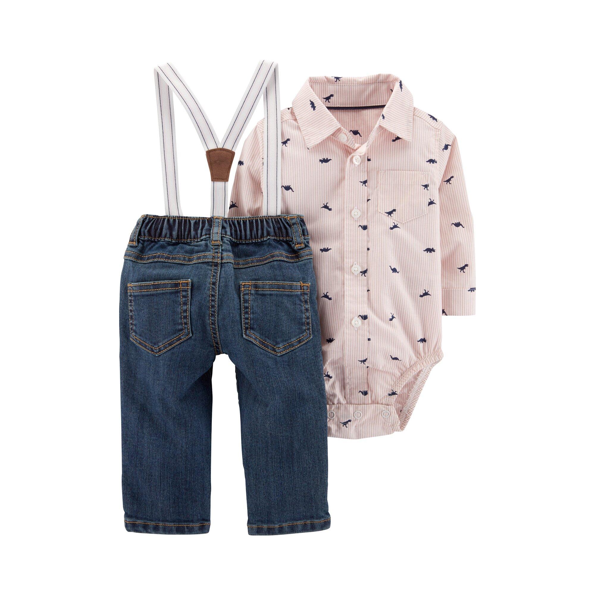carter-s-2-tlg-set-hemdbody-langarm-und-jeans-mit-hosentragern-dinos