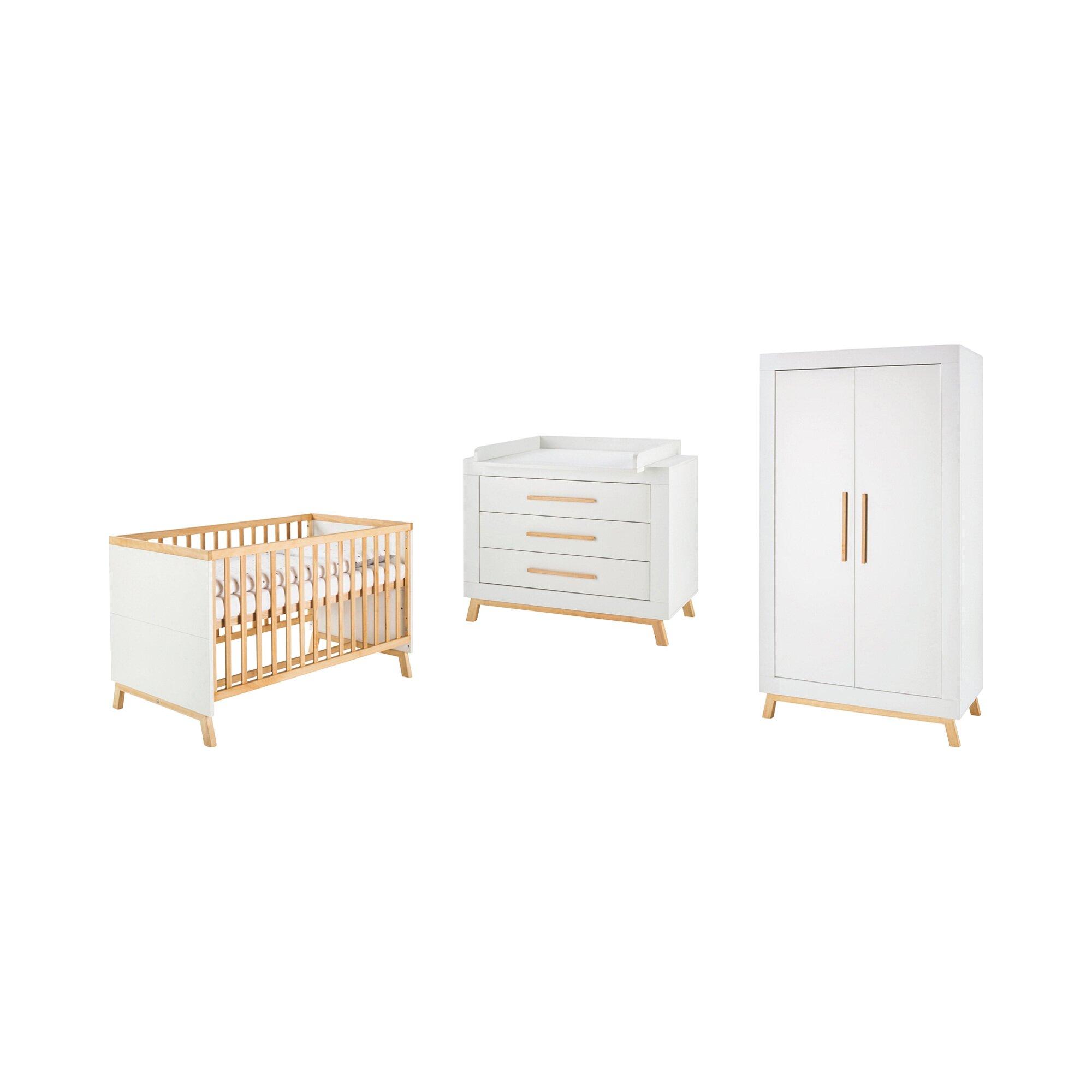 schardt-3-tlg-babyzimmer-miami-white-mit-2-turigem-kleiderschrank, 1134.99 EUR @ babywalz-de