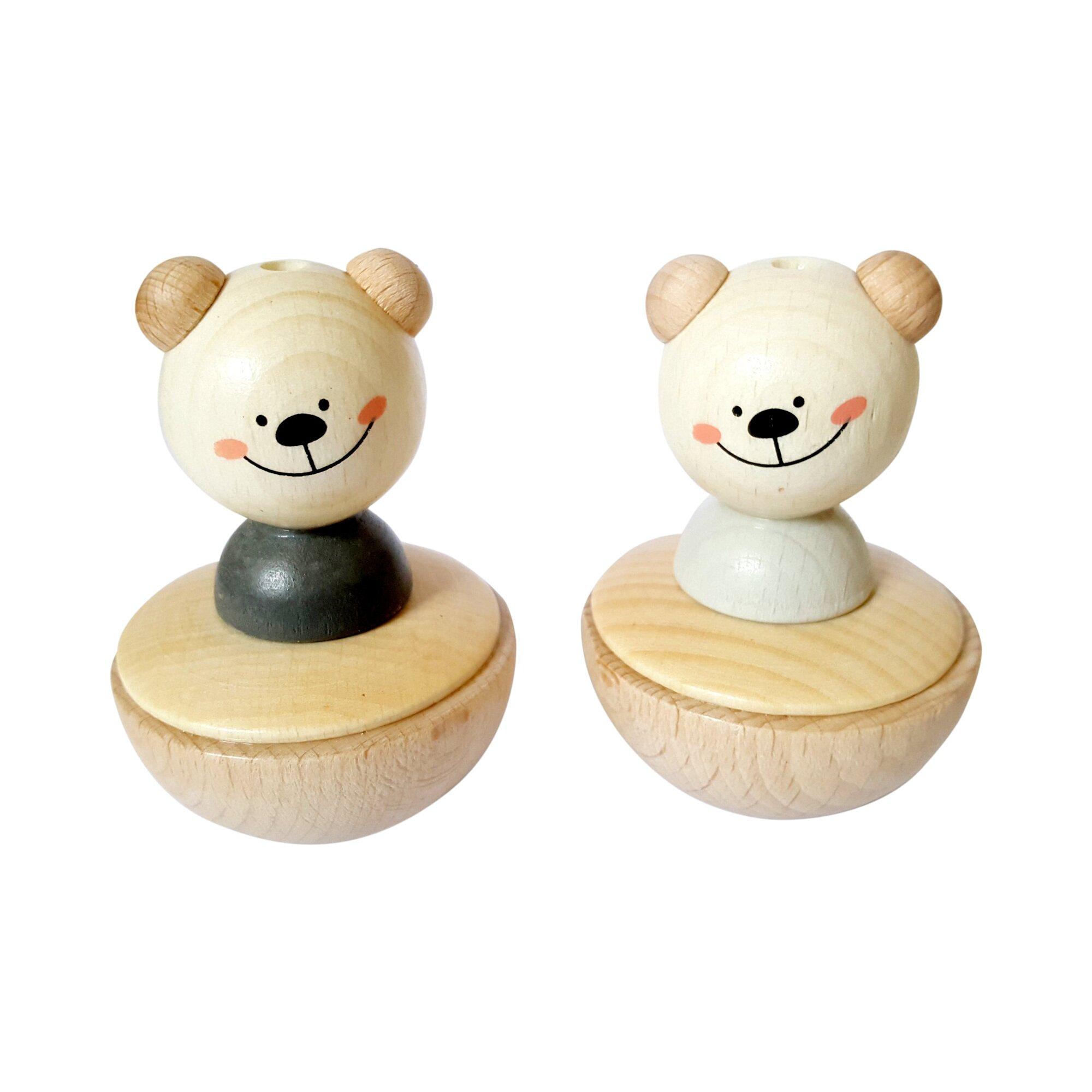 Hess Spielzeug Stehaufmännchen Bär aus Holz sortiert